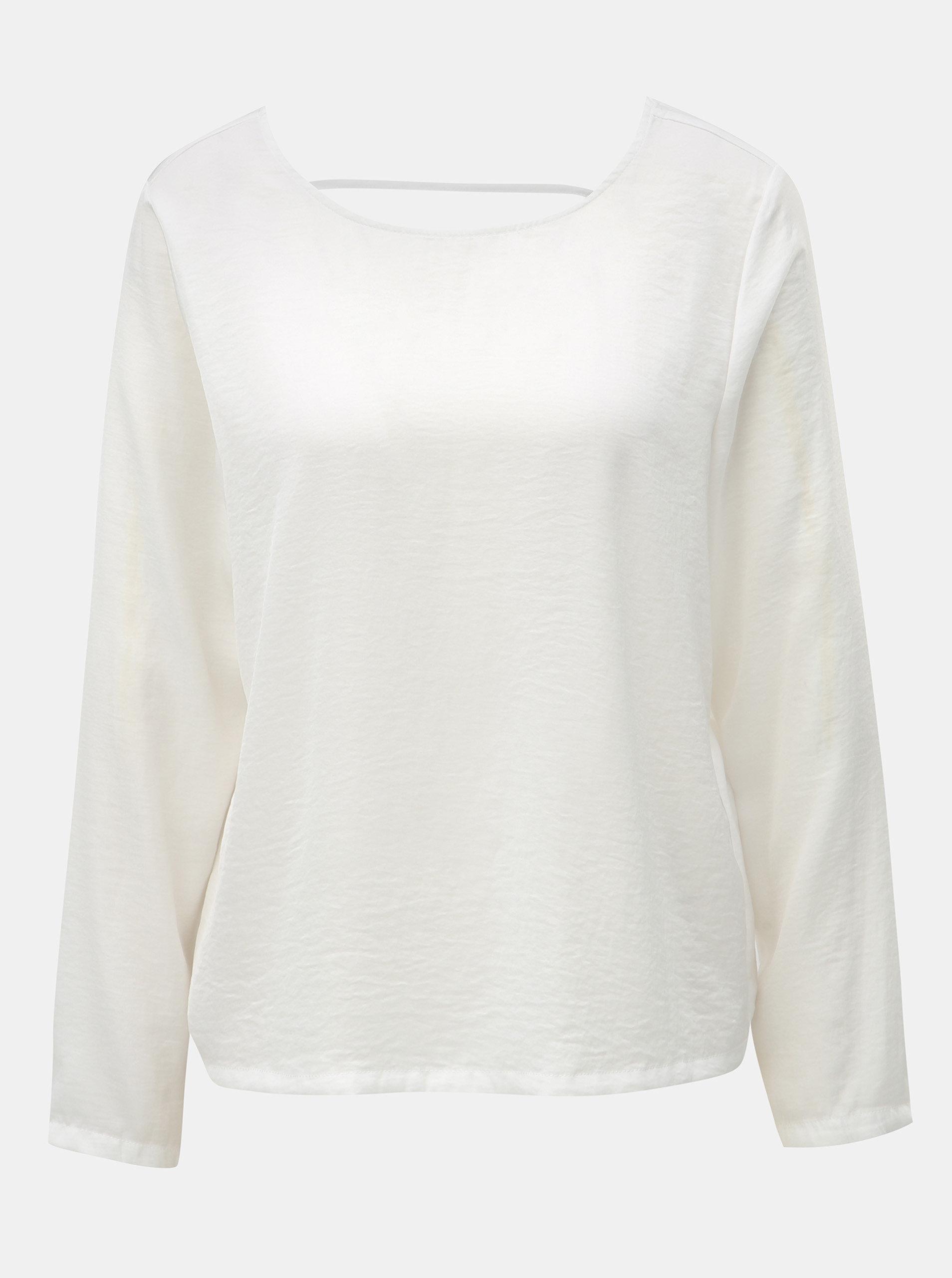 6097a1bed496 Biela blúzka s dlhým rukávom a prestrihom na chrbte ONLY Mona ...