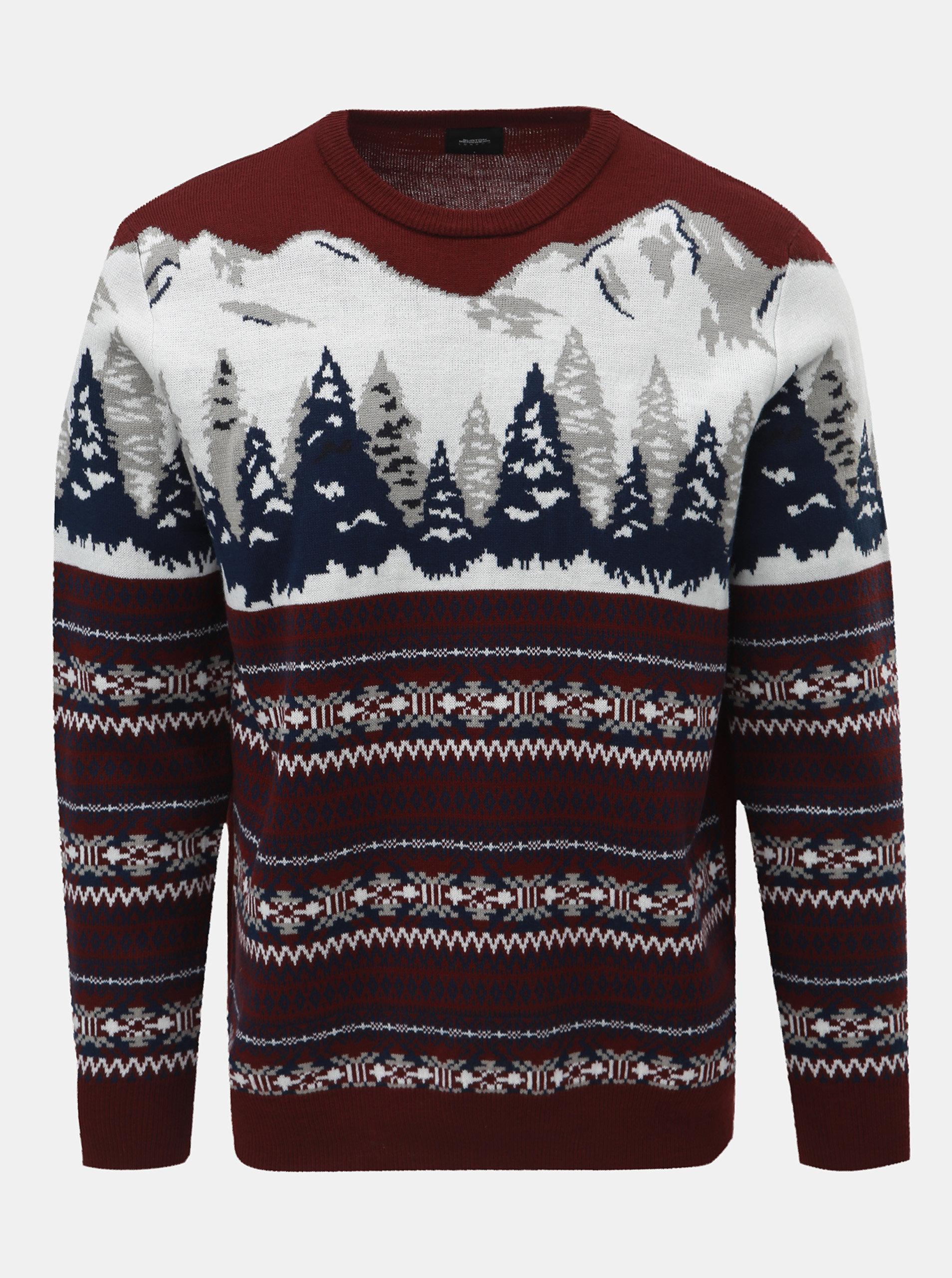 c67e89e0dd0b Bielo–vínový sveter s nórskym vzorom Burton Menswear London Mountain ...