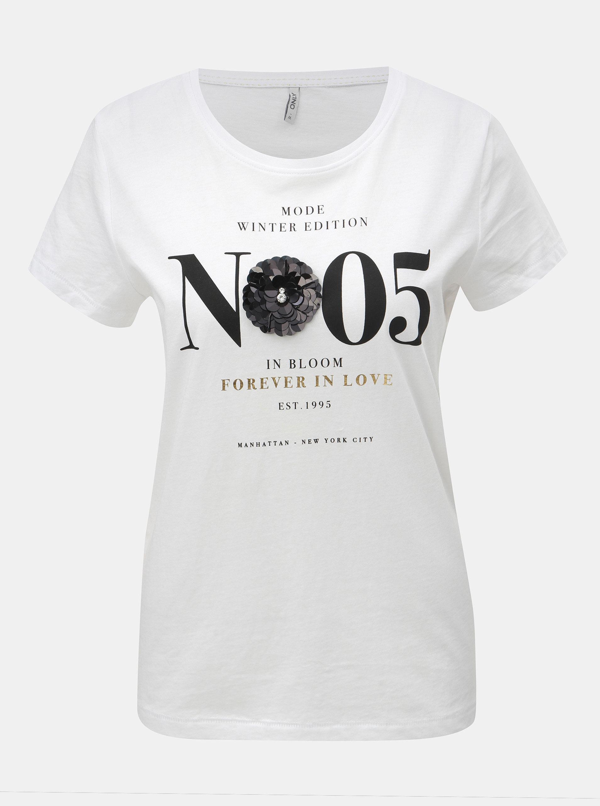 5cd26de7ed28 Bílé tričko s potiskem a flitrovou aplikací ONLY Kita ...