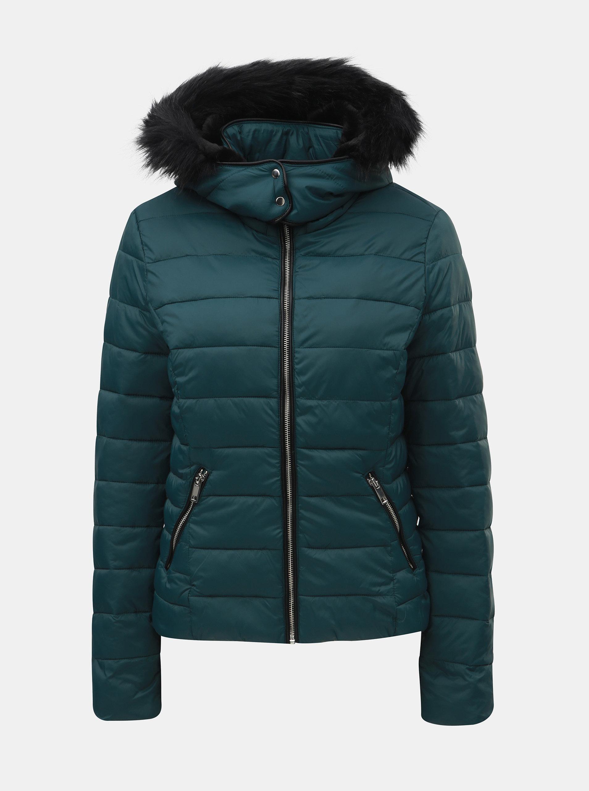 Petrolejová prešívaná zimná bunda s odnímateľnou kapucňou TALLY WEiJL ... 9073a1b72ea