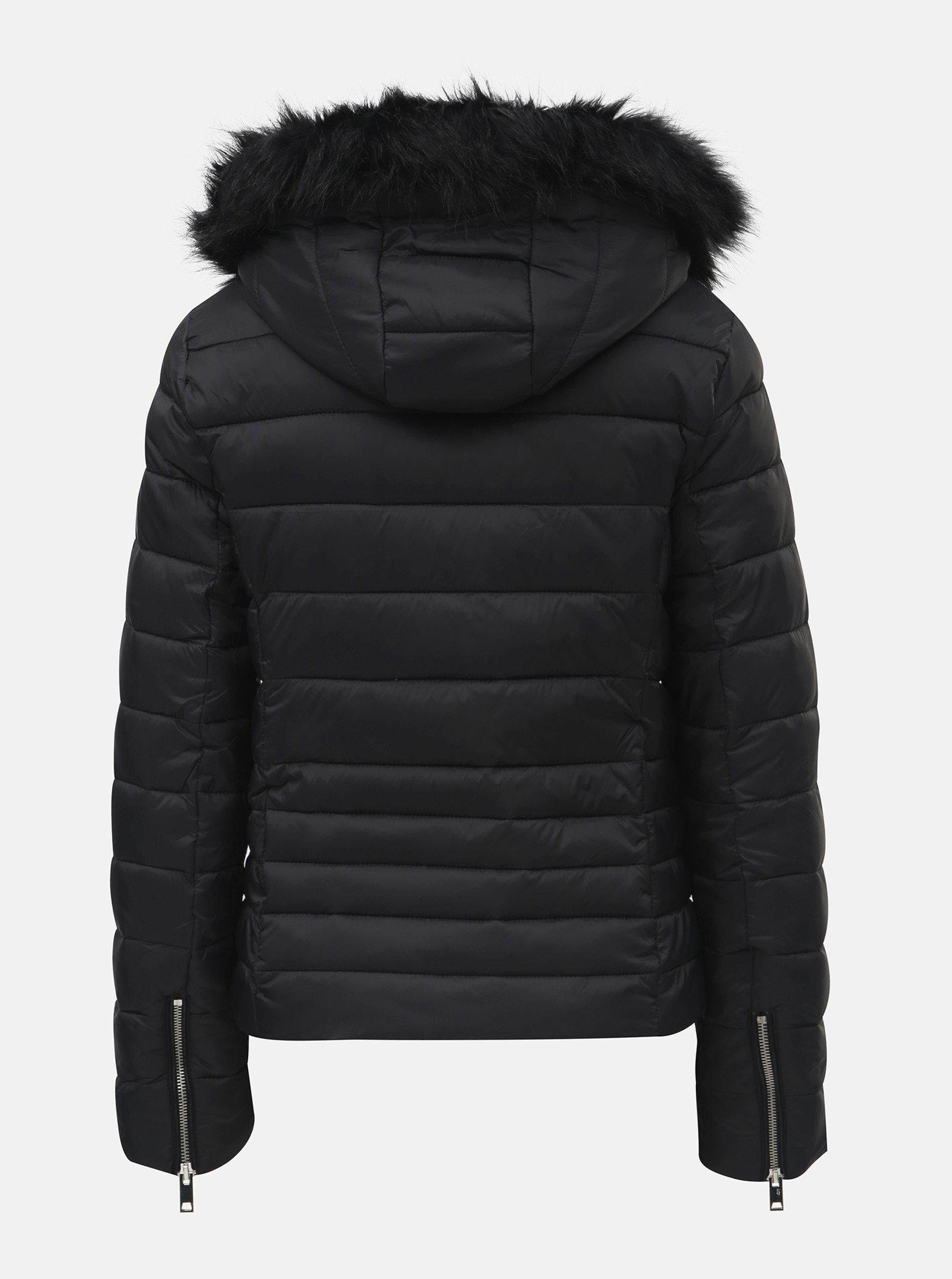 269cc16ee Černá zimní prošívaná bunda s odnímatelnou kapucí TALLY WEiJL Woven ...