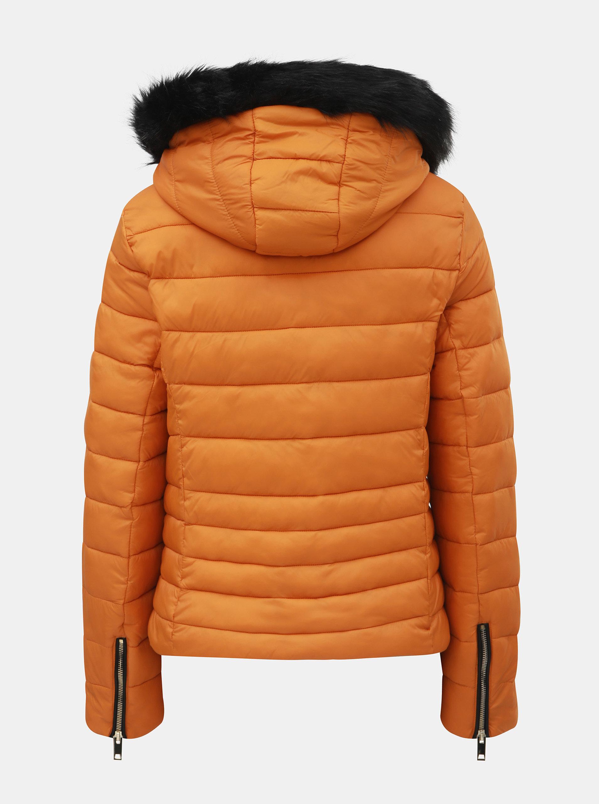 6b97127b670 Oranžová zimní prošívaná bunda s odnímatelnou kapucí TALLY WEiJL ...
