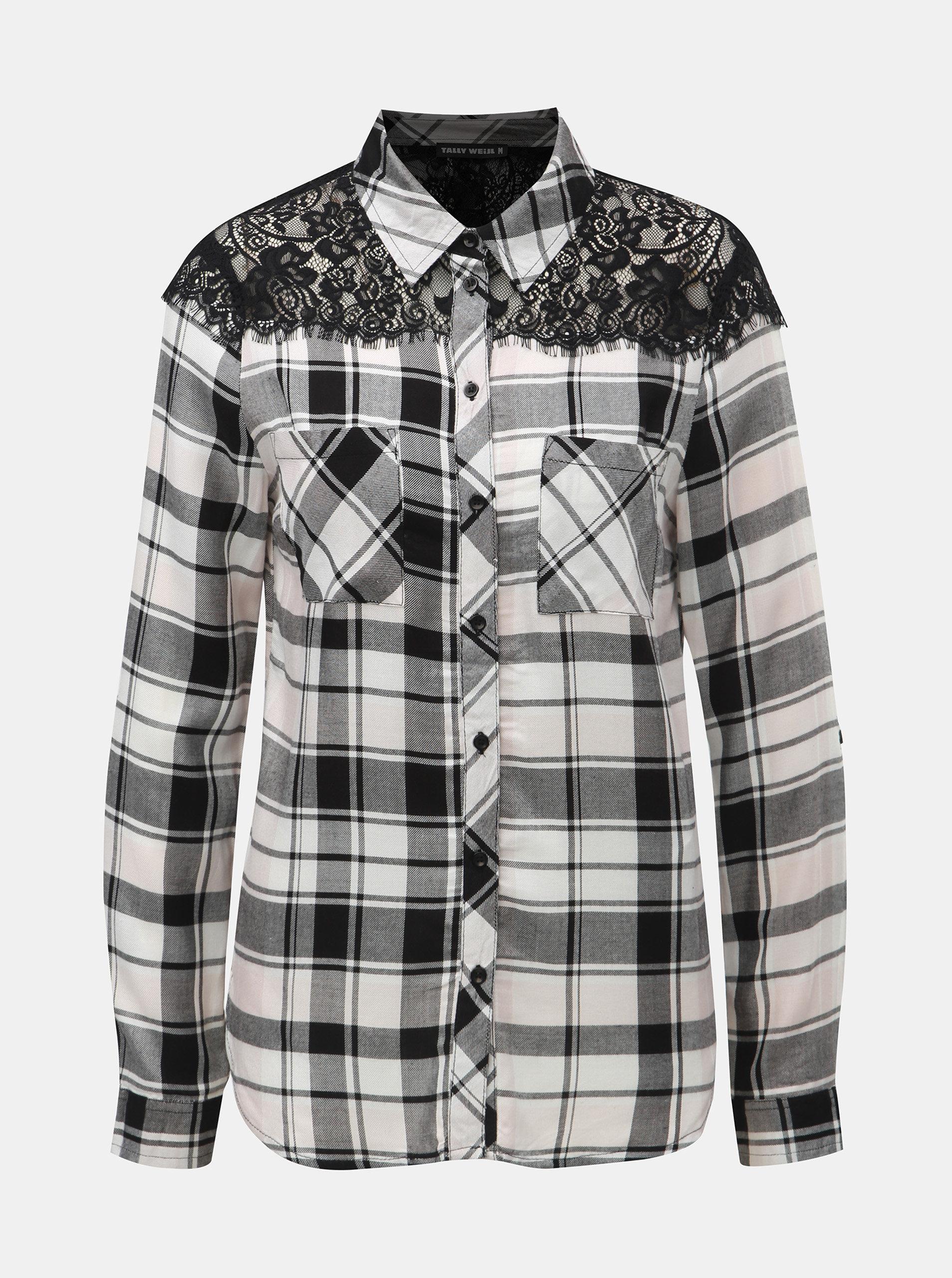 Bílo-černá kostkovaná košile s krajkou na ramenou TALLY WEiJL ... eeab549d79