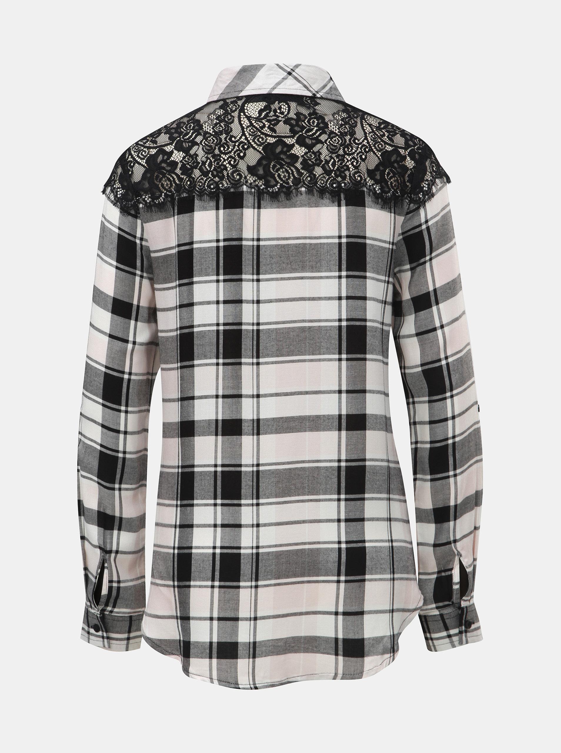 2904d2214624 Bielo–čierna károvaná košeľa s čipkou na ramenách TALLY WEiJL ...