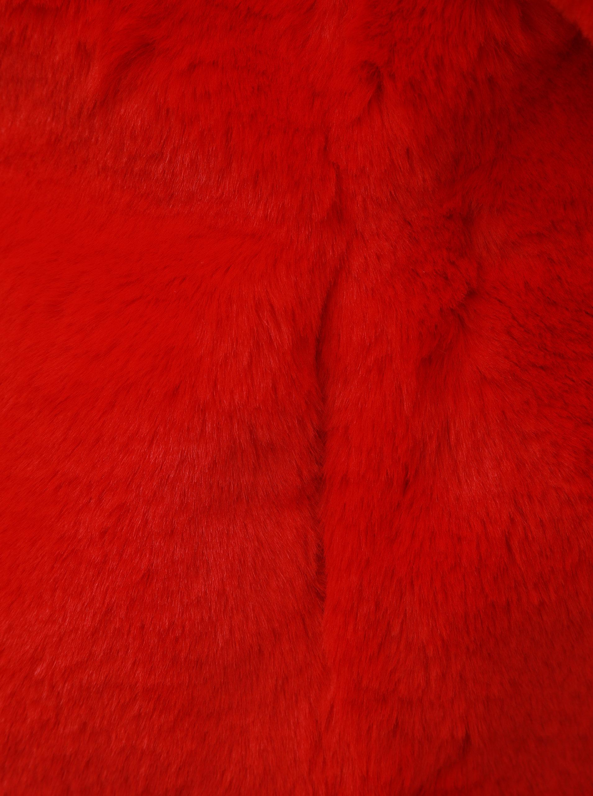 Červený krátky kabát z umelej kožušinky TALLY WEiJL ... b6de069bfc4