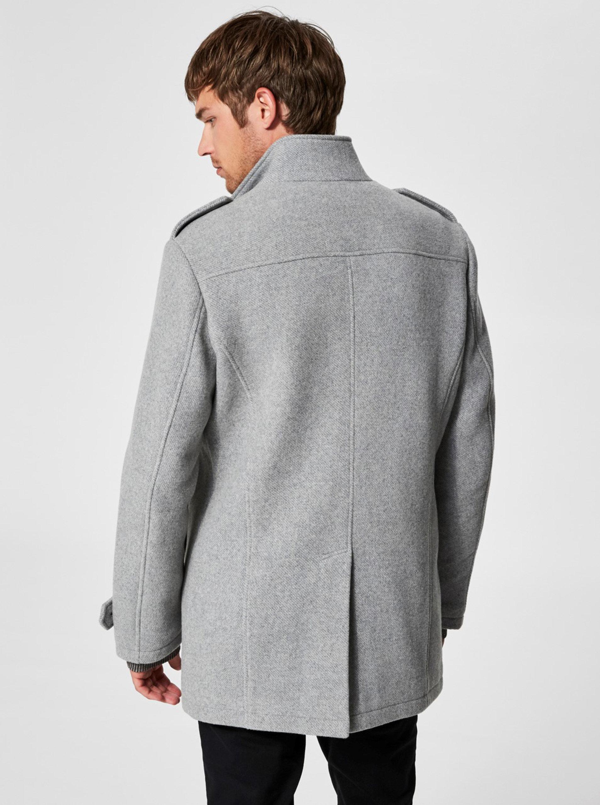 Sivý melírovaný vlnený kabát s gombíkmi Selected Homme Covent ... 3adaa458bf2