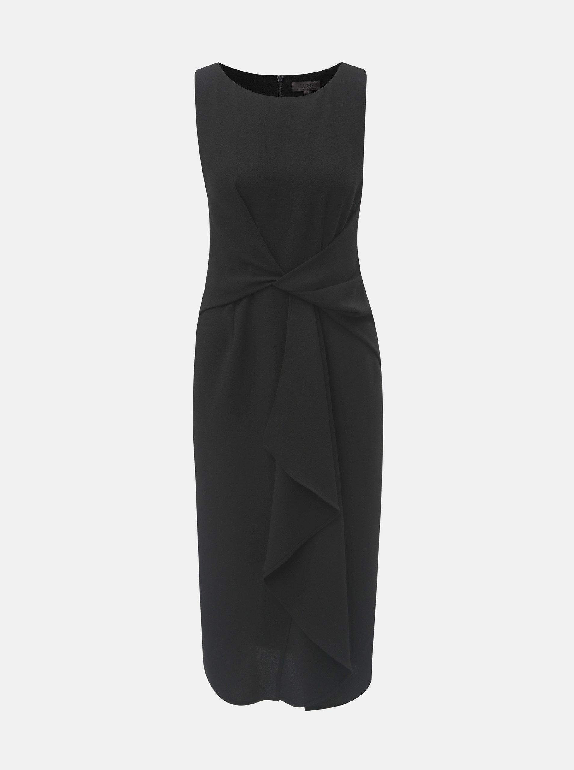 Čierne puzdrové šaty s volánom v prednej časti Dorothy Perkins ... 64a43a833b9