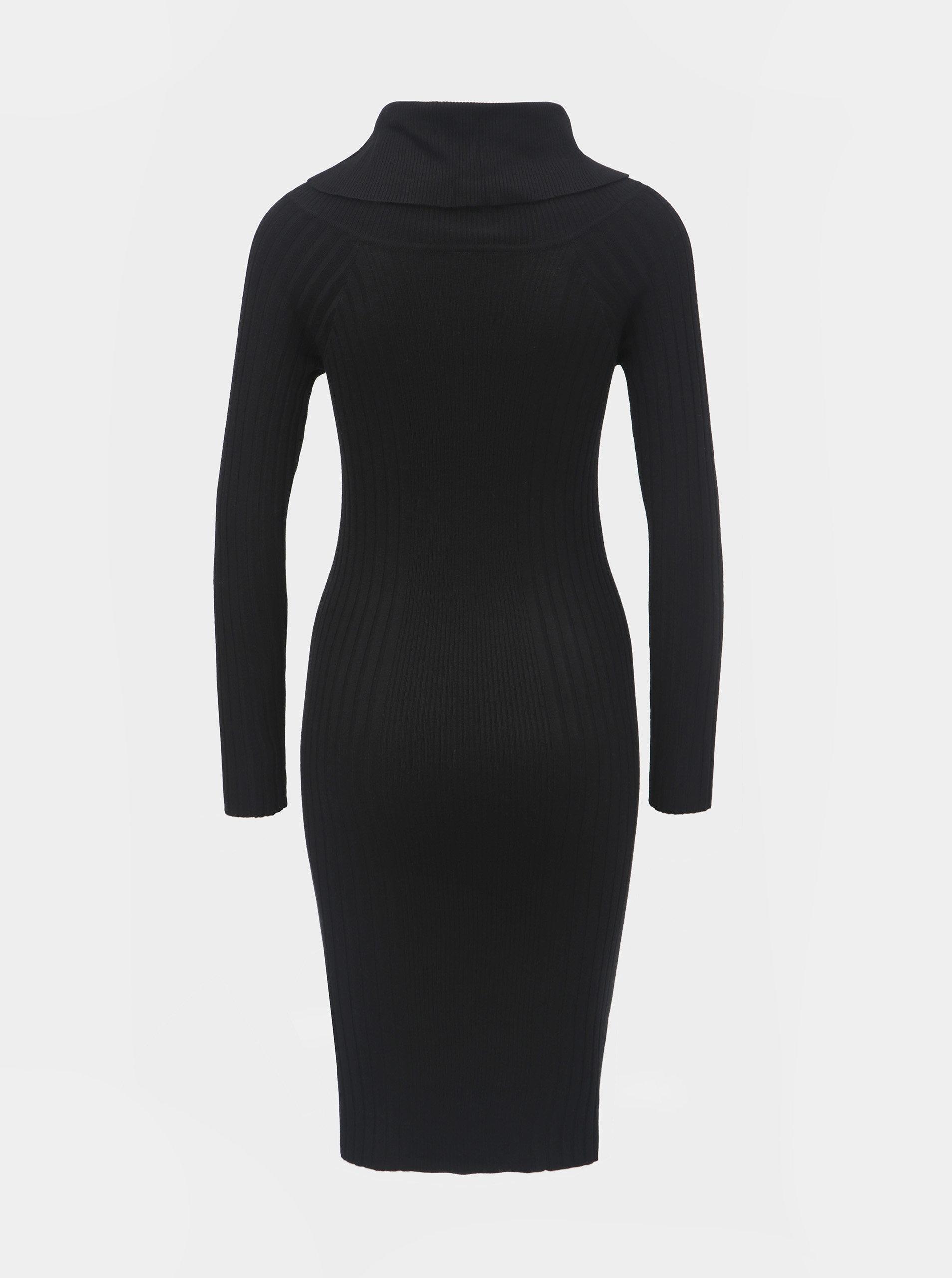 edd80aa3d027 Černé pouzdrové svetrové šaty s límcem a dlouhým rukávem Noisy May Vicki ...