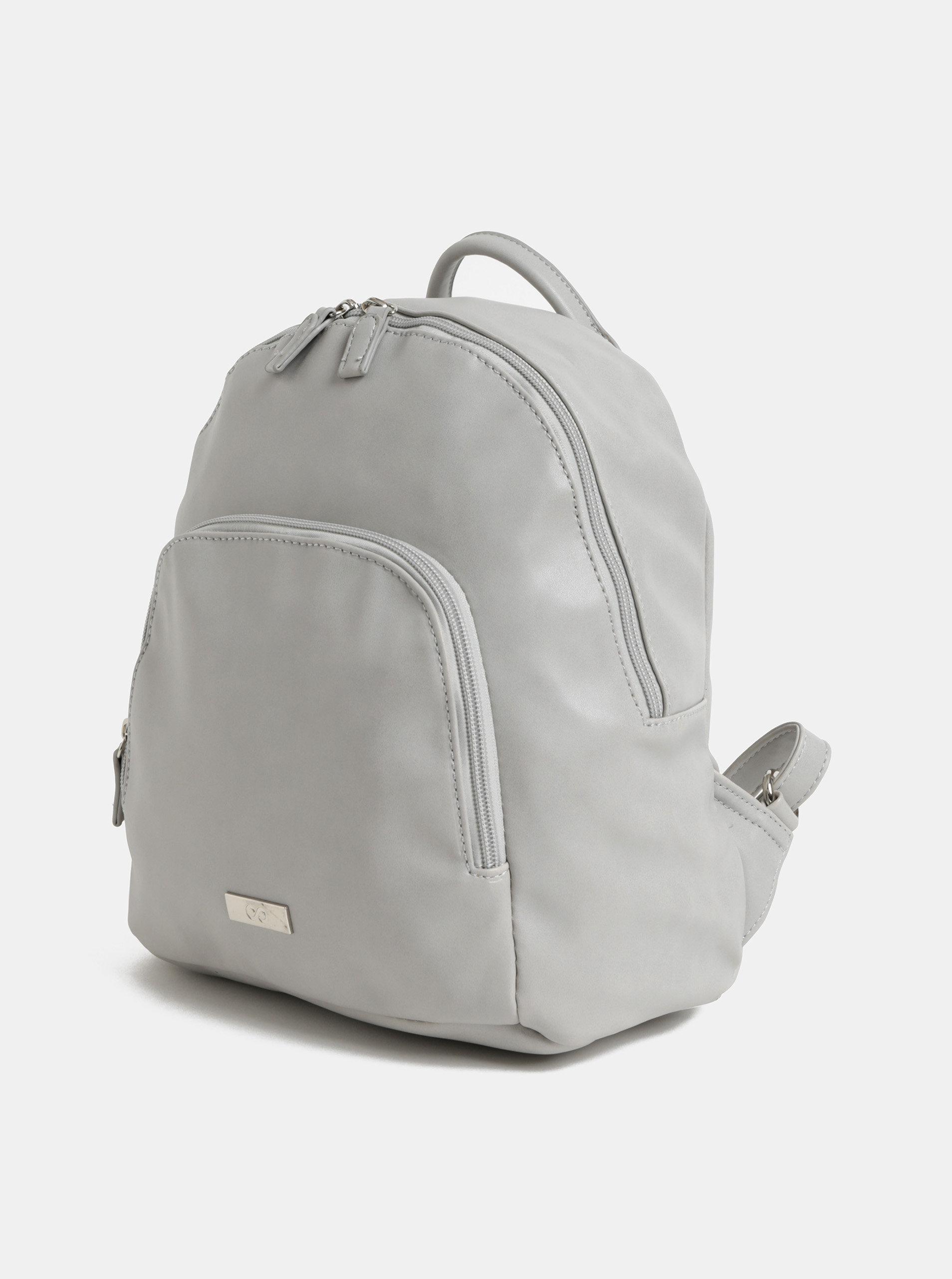 aedc96303b Svetlosivý koženkový batoh s predným vreckom ZOOT ...