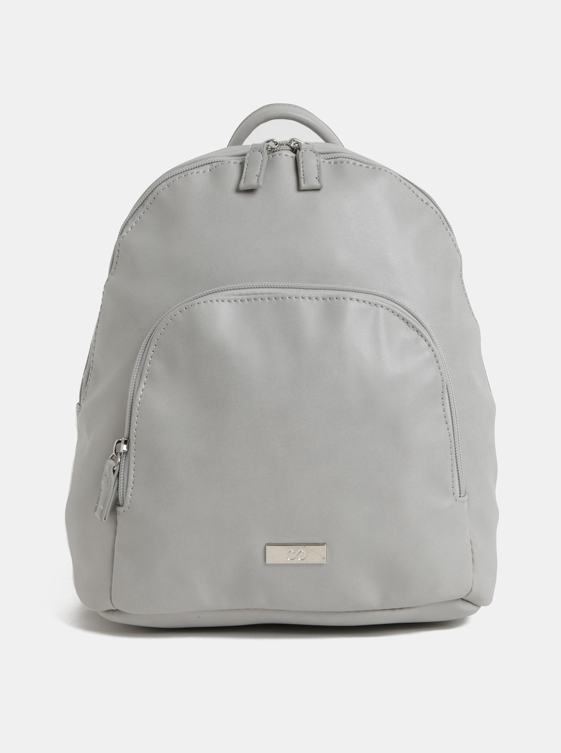 9190decbc Svetlosivý koženkový batoh s predným vreckom ZOOT | ZOOT.sk