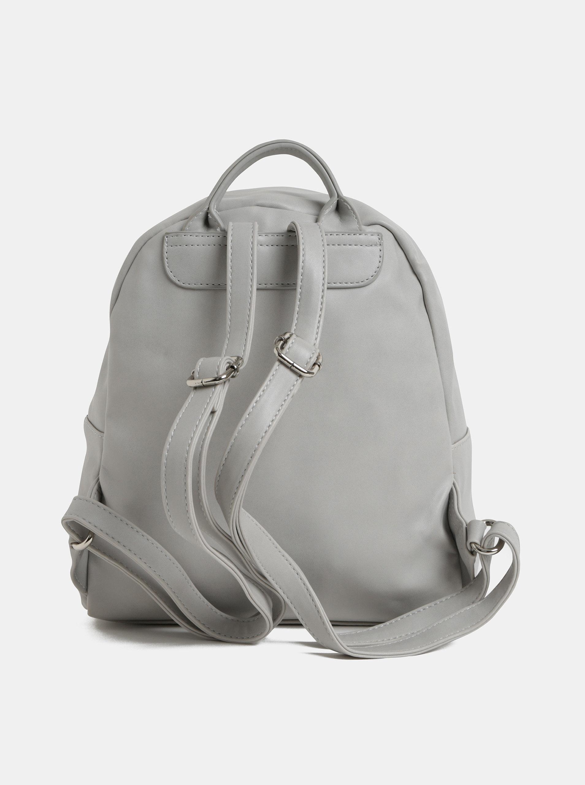 57754ba46e Svetlosivý koženkový batoh s predným vreckom ZOOT ...