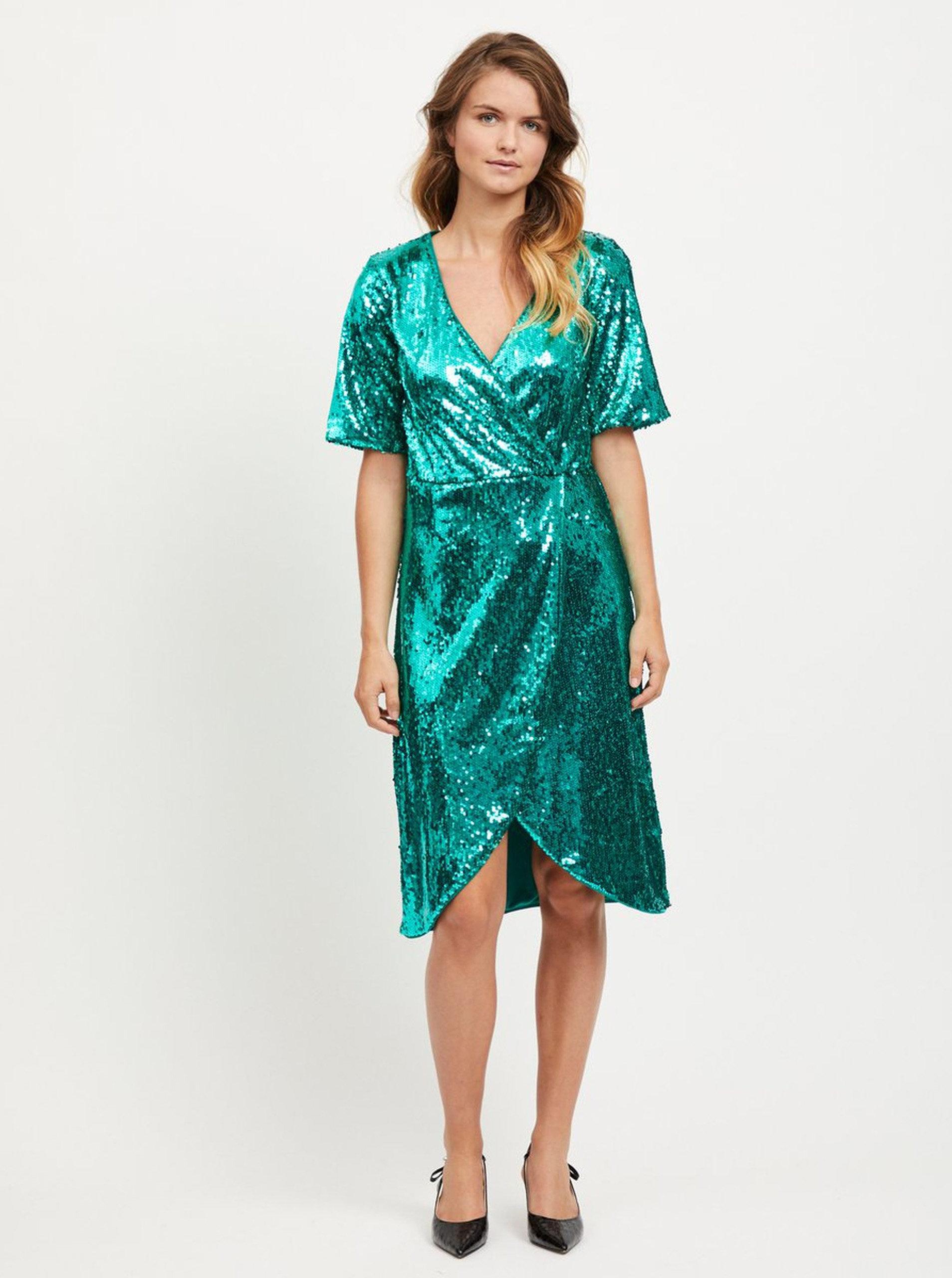 5f1eb6eebdd4 Zelené šaty s flitrami VILA Lilja ...