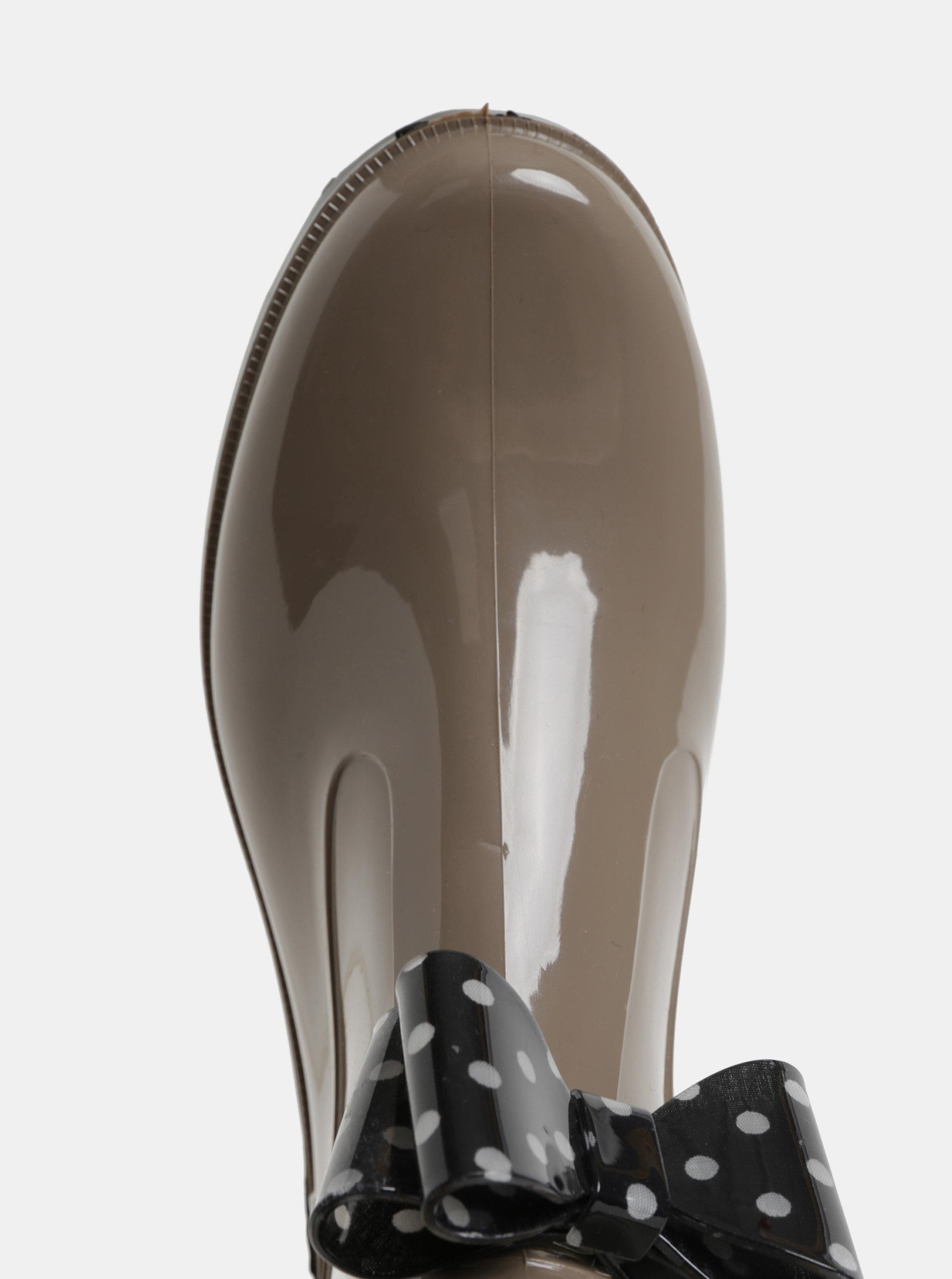 35e27810b735 Béžové gumové kotníkové boty s puntíkovanou mašlí OJJU ...