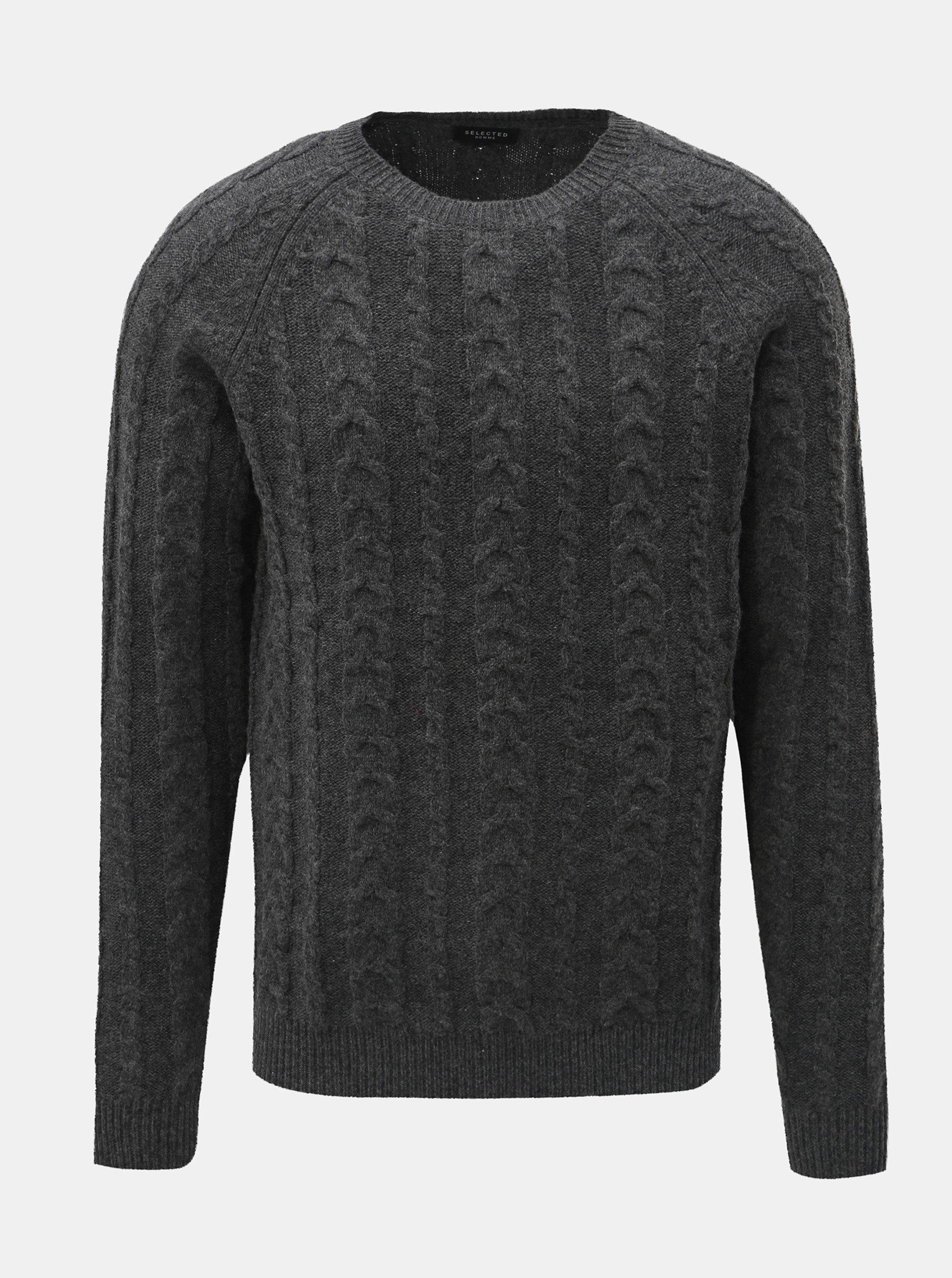 e90ee28731ed Sivý vlnený sveter s okrúhlym výstrihom Selected Homme Bravo ...