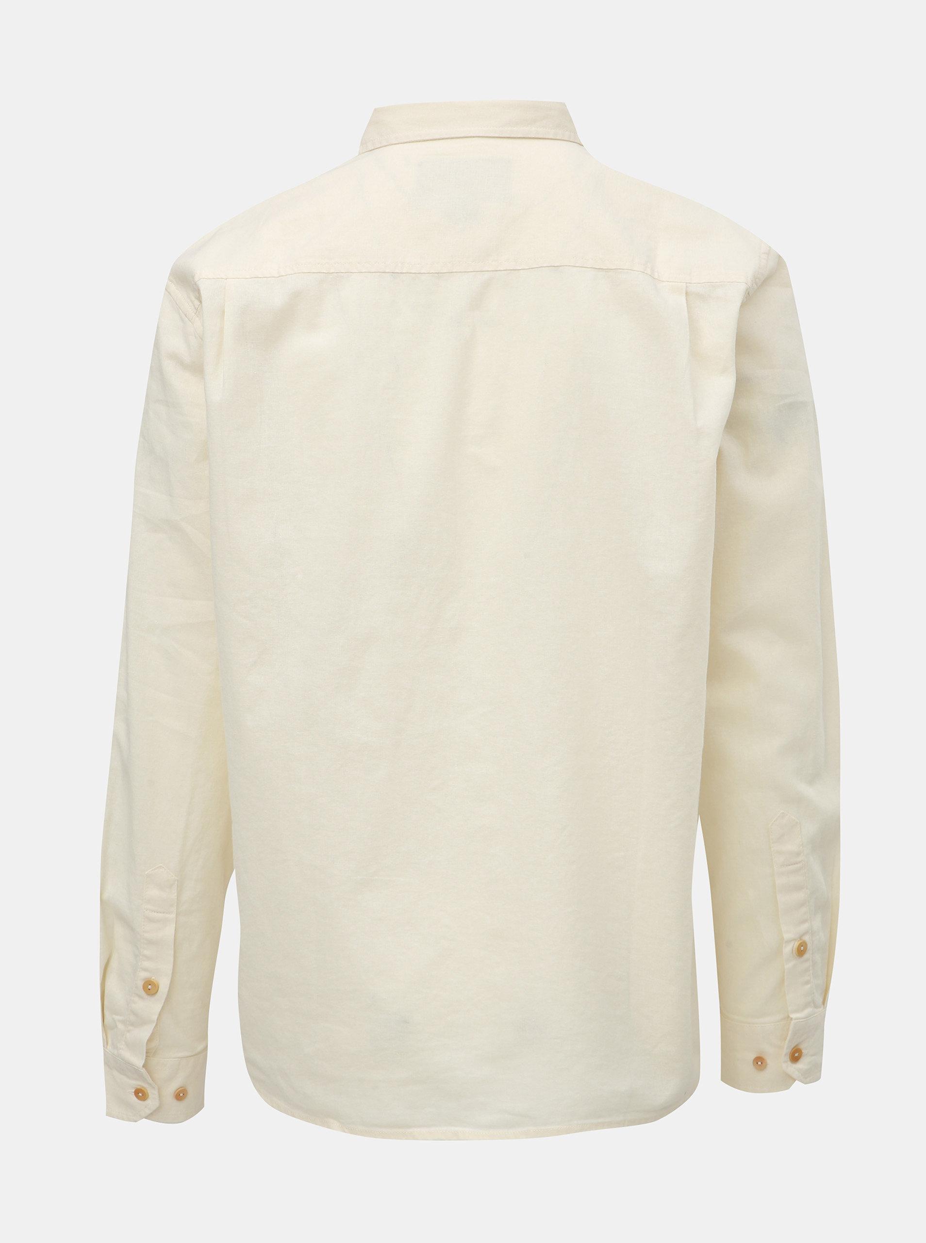 Krémová pánská lněná košile s náprsní kapsou BUSHMAN Trafalgar ... e6af4f67a5