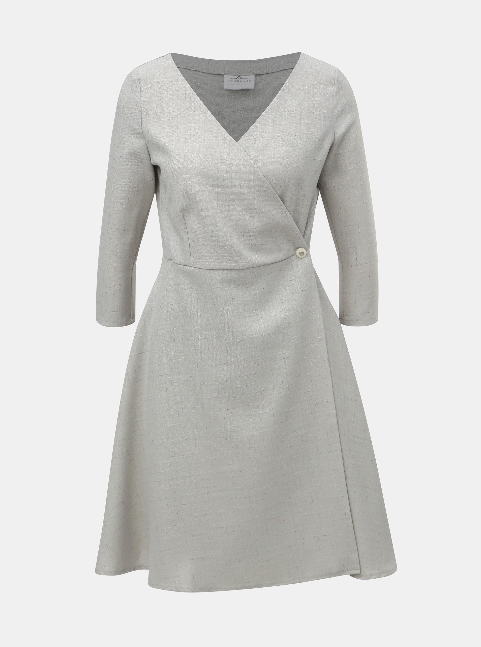 Světle šedé žíhané zavinovací šaty SEVERANKA ... 7879129a23