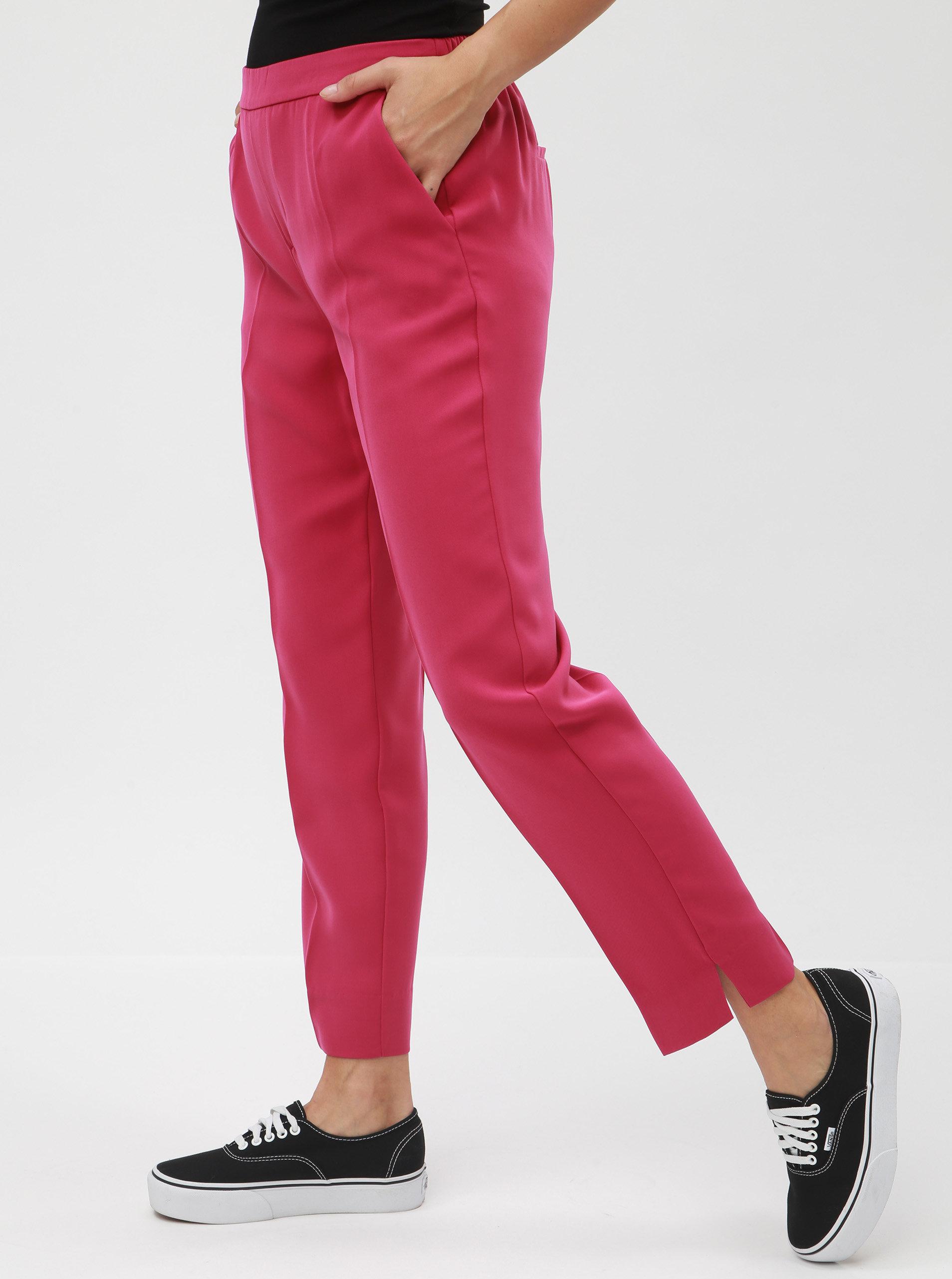 Tmavě růžové zkrácené kalhoty s puky a vysokým pasem VERO MODA Hanna ... 6872bf86f7