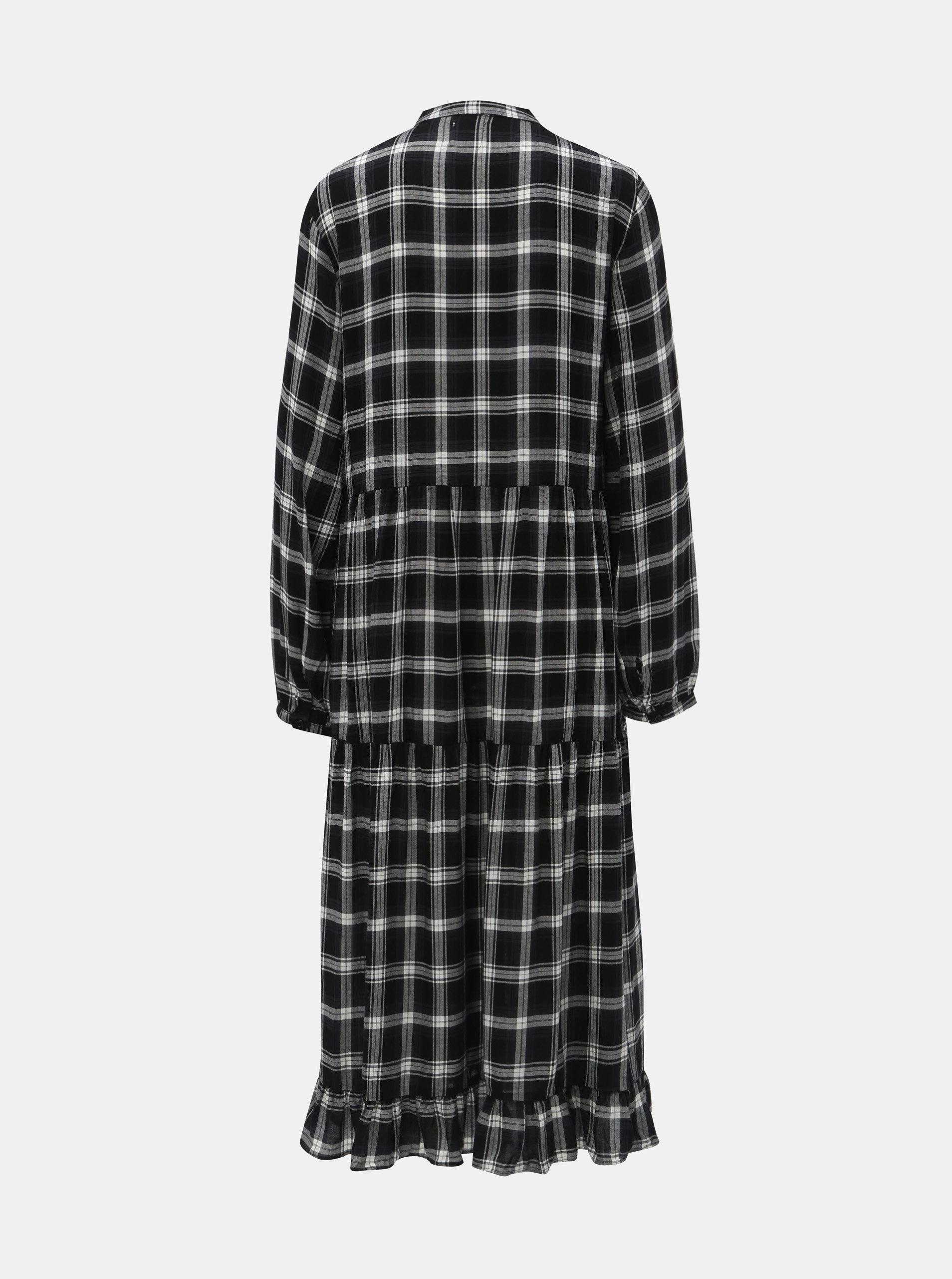 Bílo-černé kostkované košilové šaty Vila Kallie ... d157f3f2cb