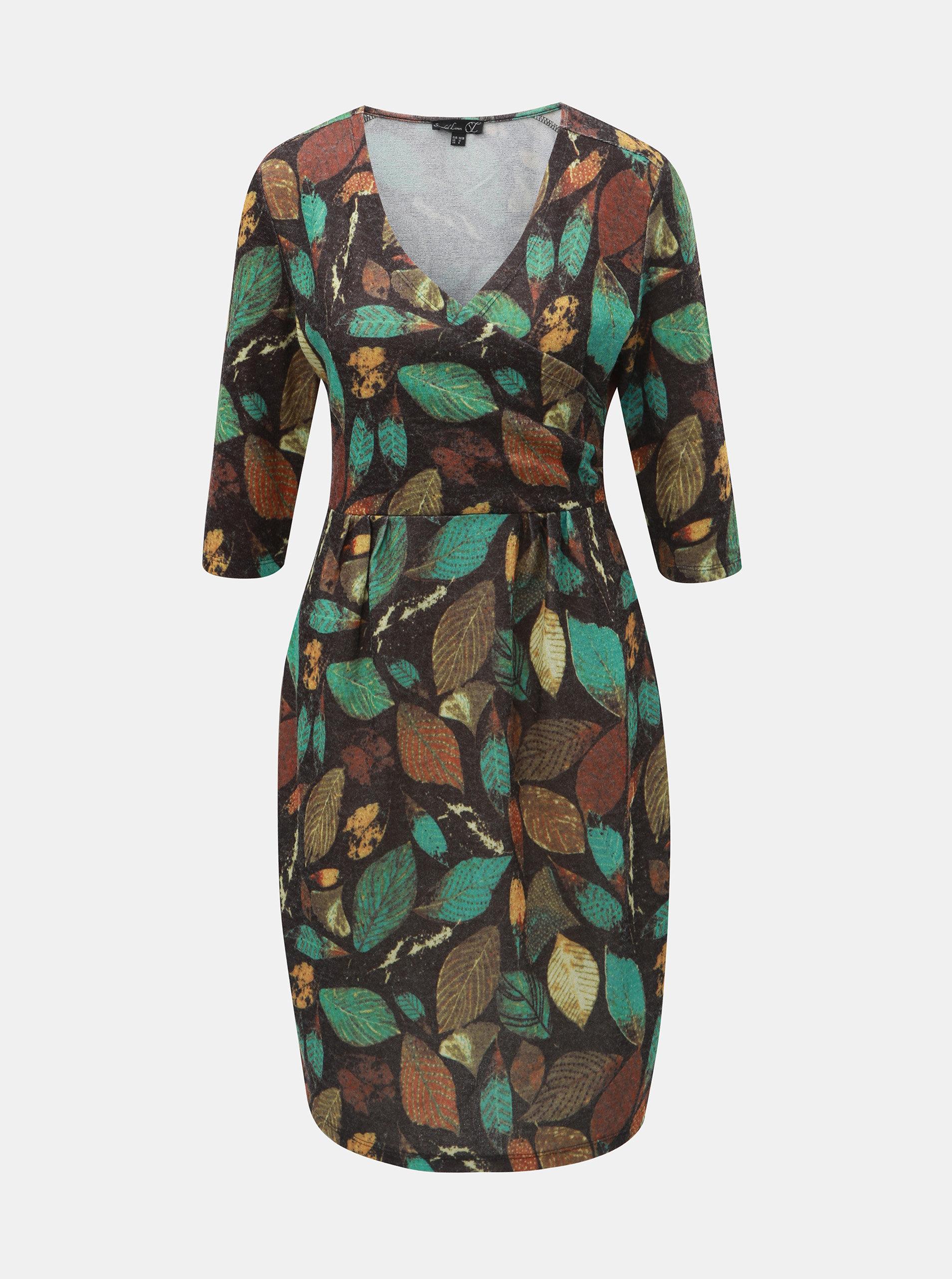 Černo-zelené šaty s motivem listů Smashed Lemon ... 0a985d3ee9