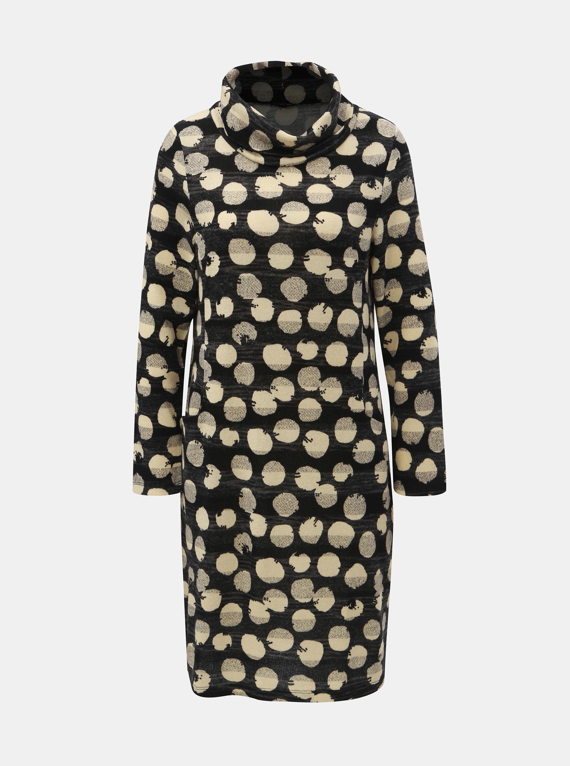 Krémovo–čierne bodkované šaty s rolákom Smashed Lemon ... 7d77a9a1238