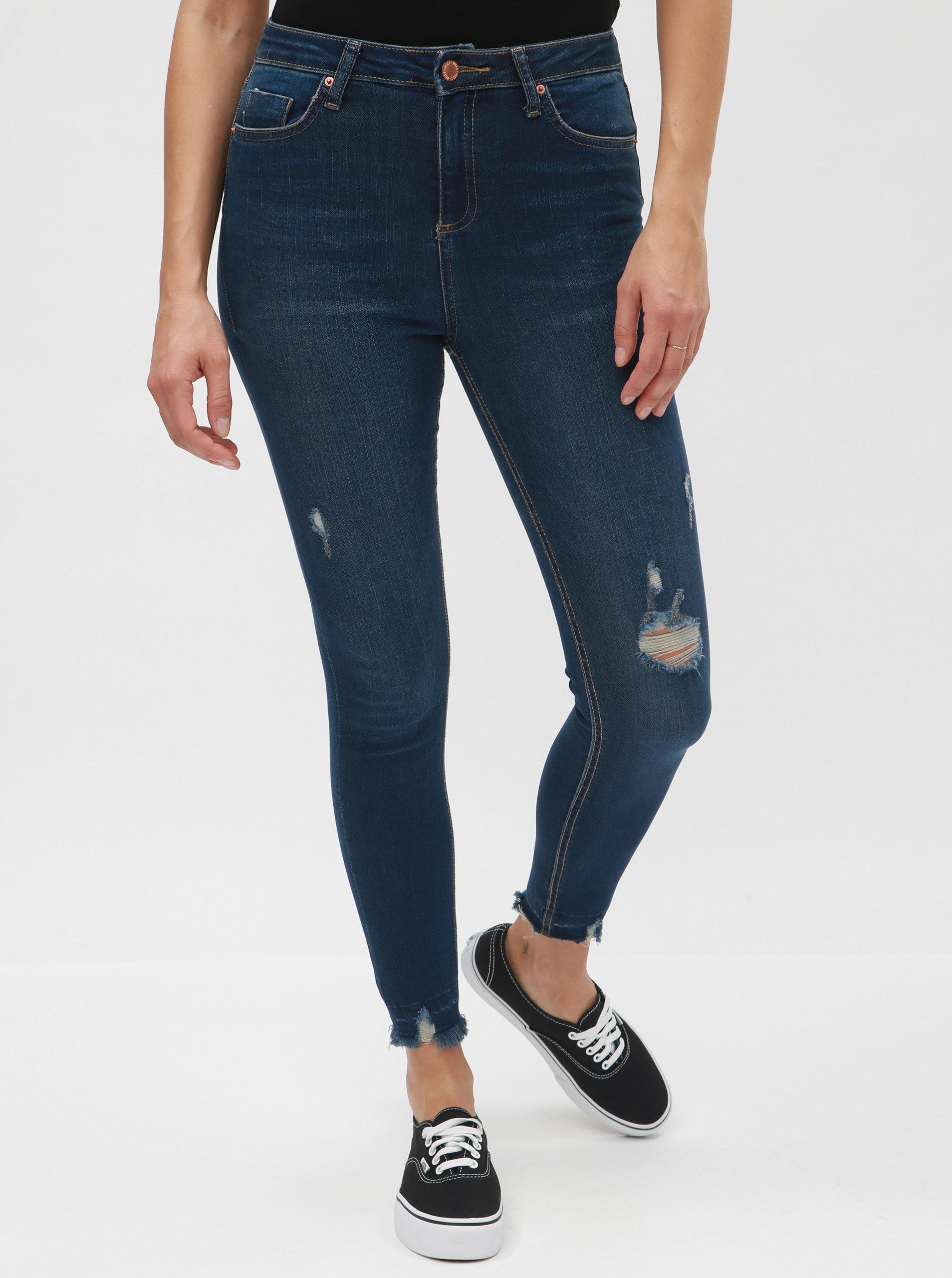 687fdf00b2b4 Tmavě modré super skinny džíny s potrhaným efektem Miss Selfridge Lizzie ...