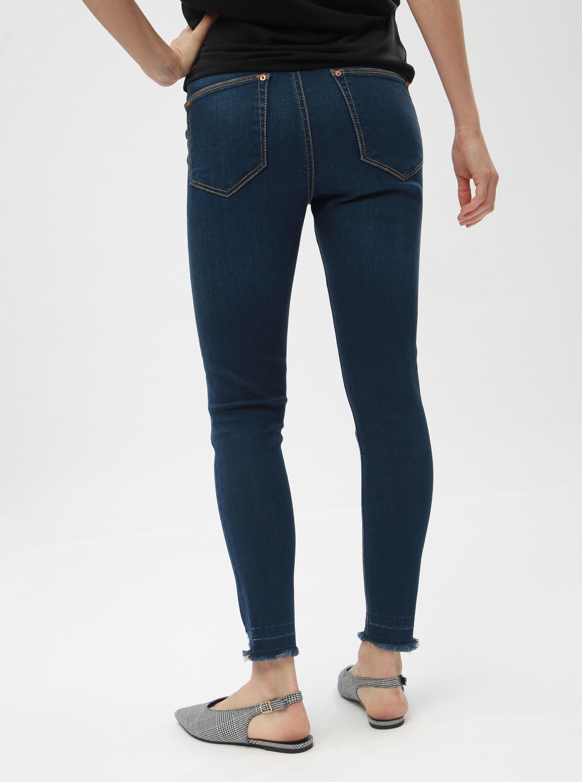 633a9a8d5a5 Modré super skinny džíny s potrhaným efektem Miss Selfridge Petites Lizzie  ...