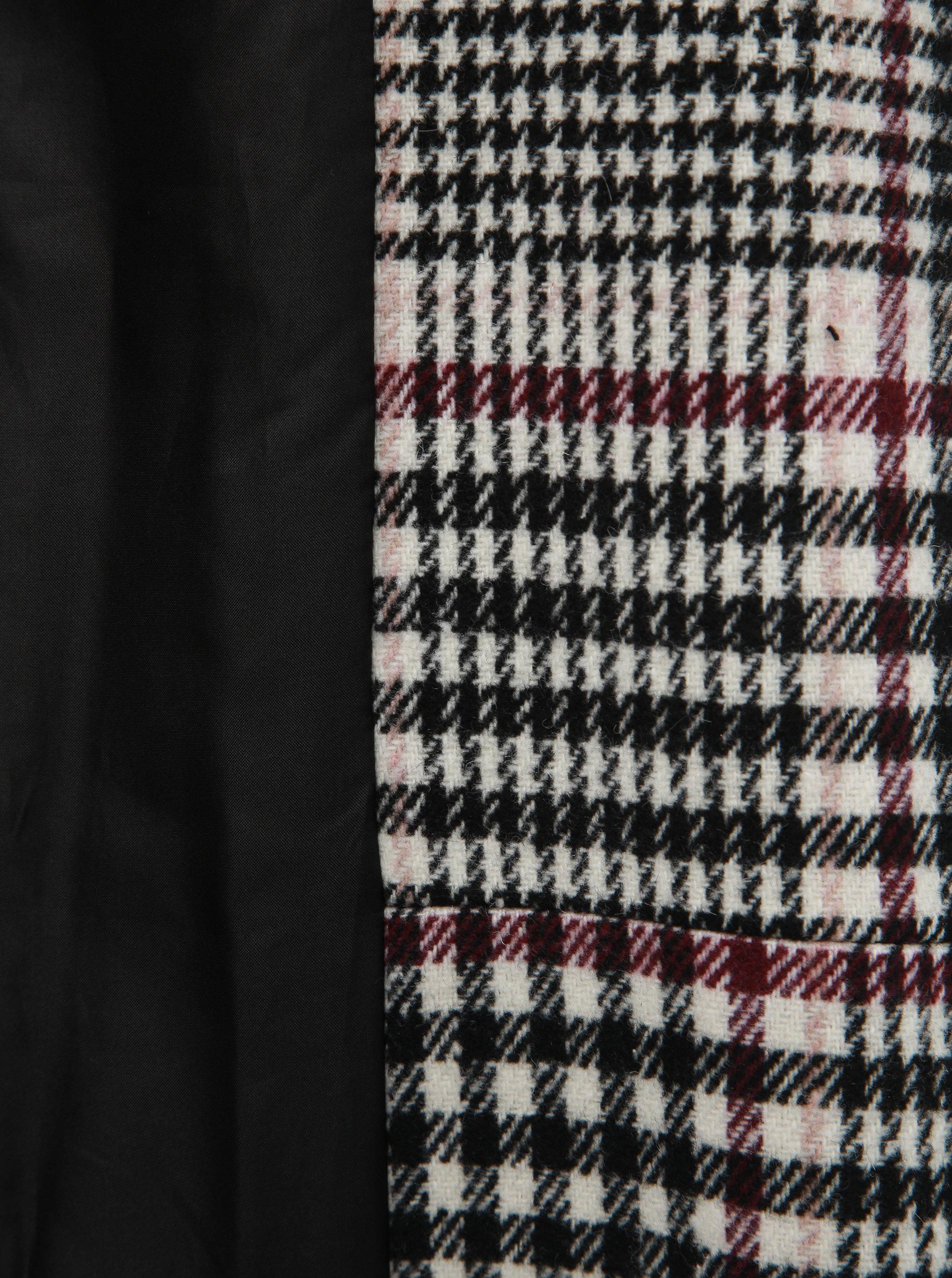 Čierno–biely kockovaný dlhý kabát Miss Selfridge ... 7fe7c007d31