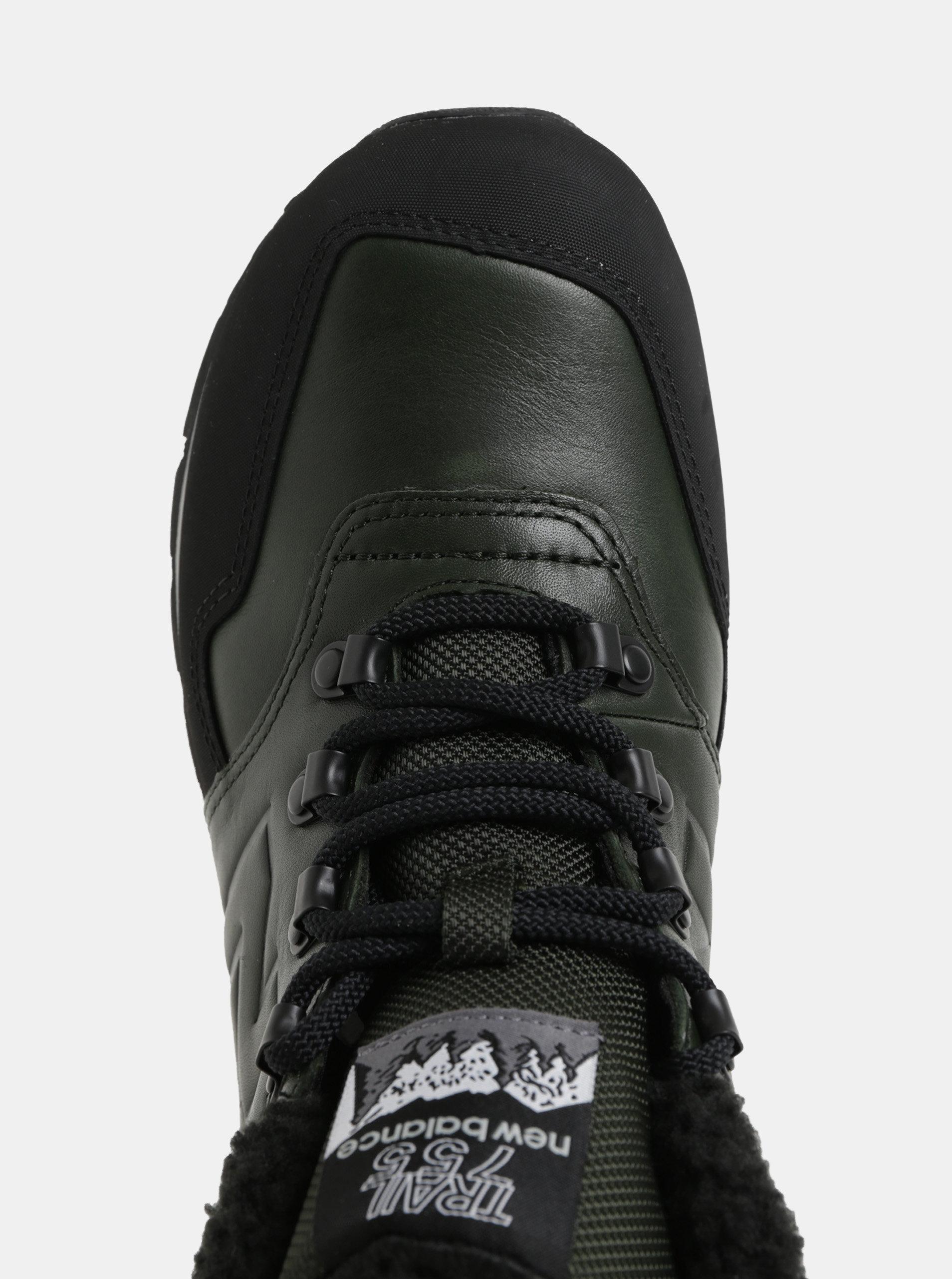 Černo-zelené pánské kožené kotníkové zimní tenisky s umělým kožíškem New  Balance ... d5f109603df