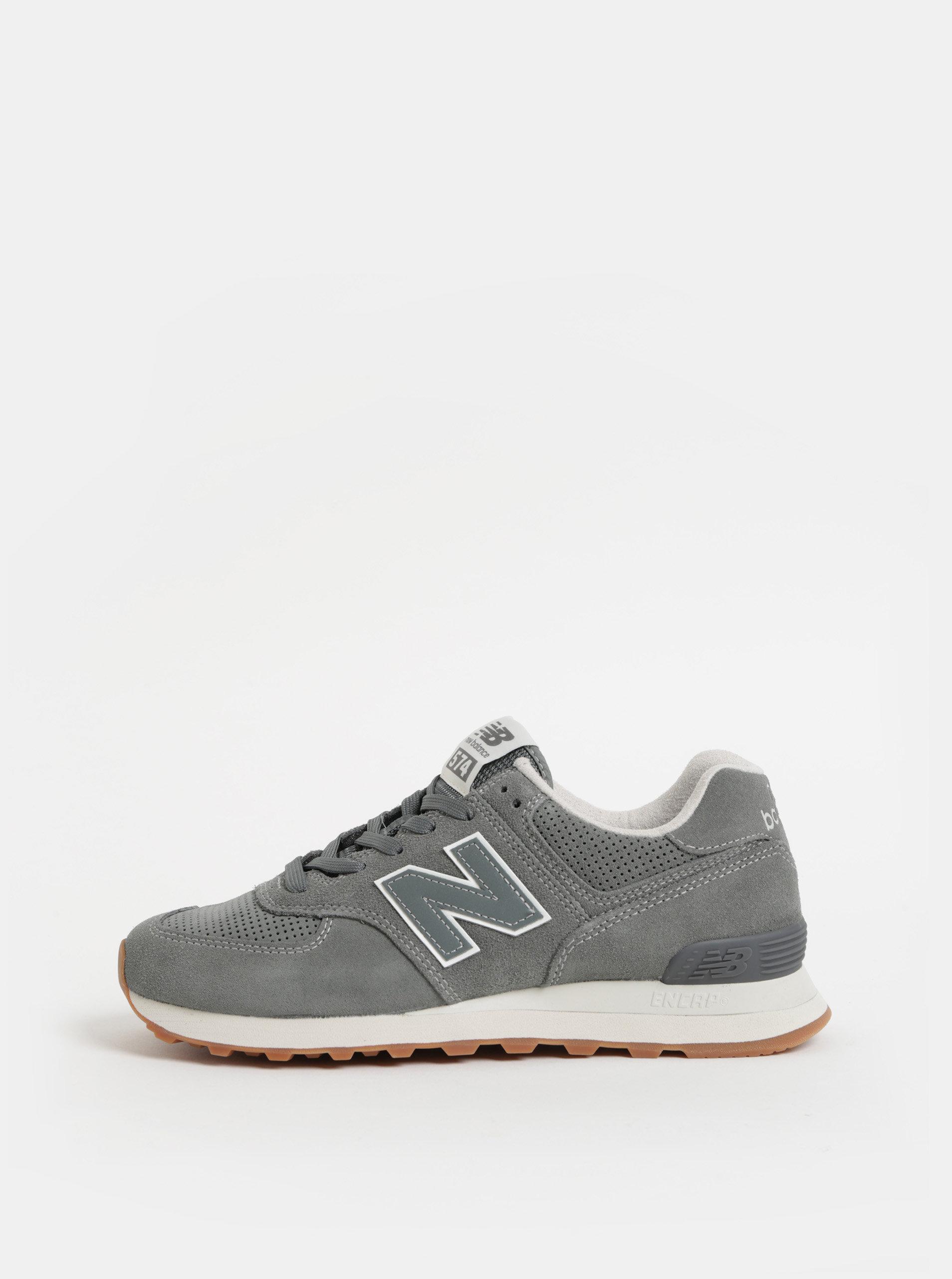 Sivé pánske semišové tenisky New Balance ... 16e2eb0a8a8