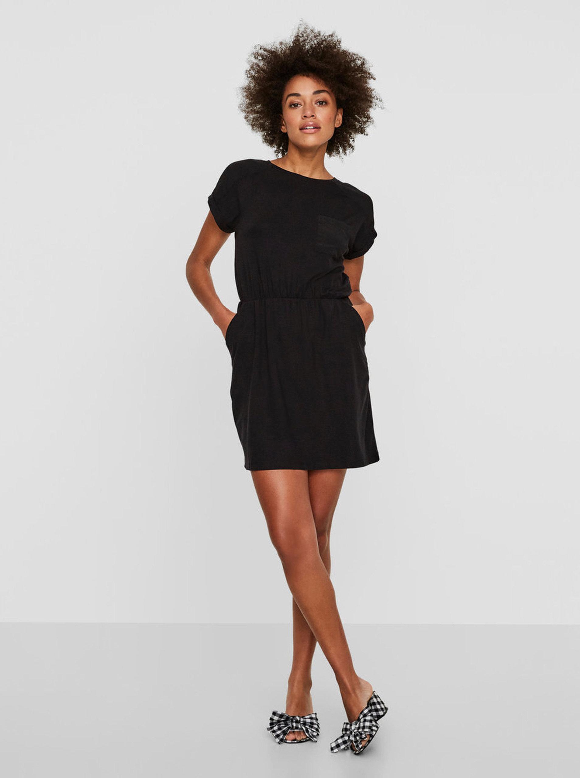 f601f5141975 Čierne šaty s krátkym rukávom VERO MODA Ava ...