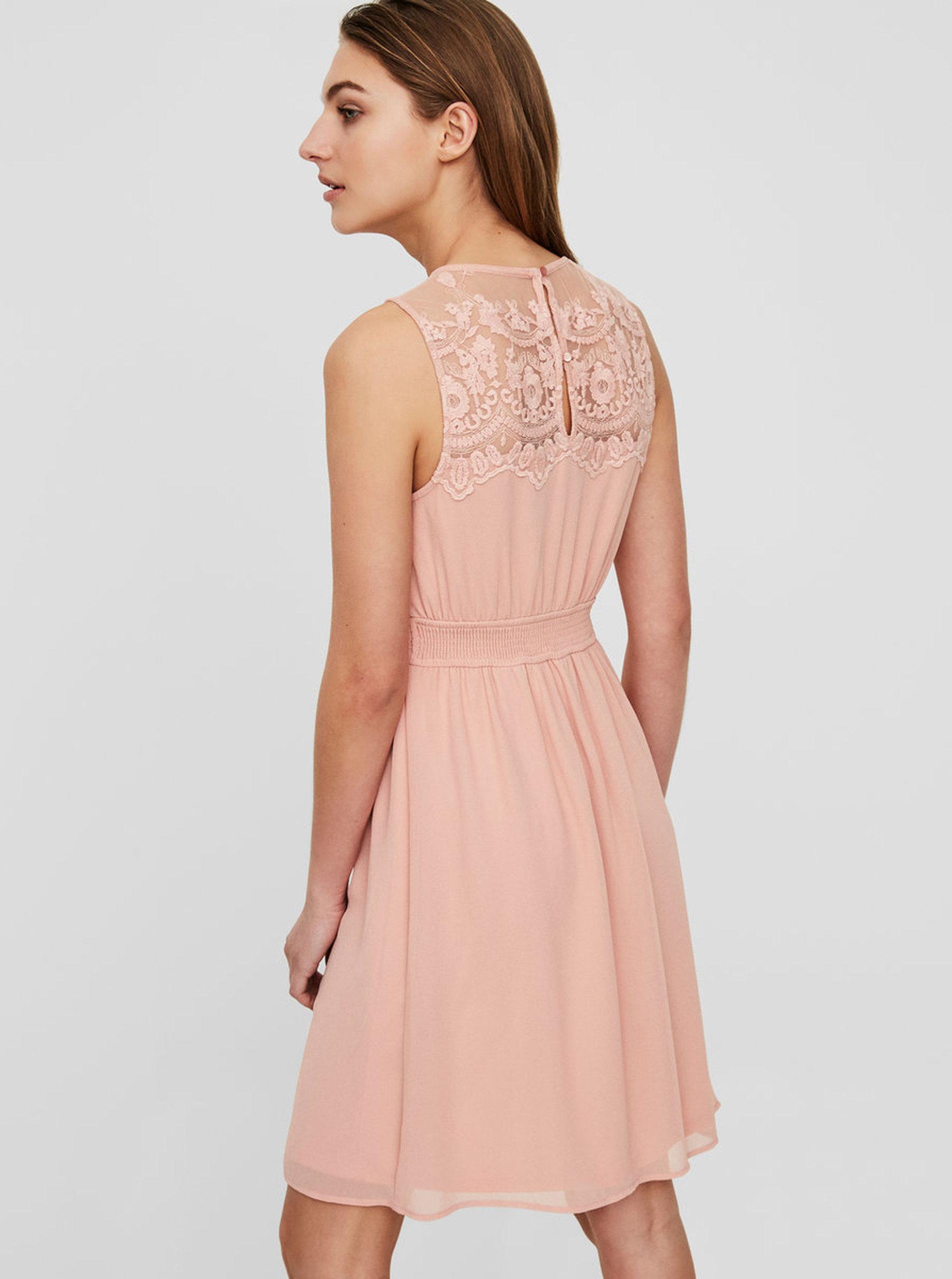 d861c79653b2 Ružové šaty s čipkou VERO MODA Vanessa ...