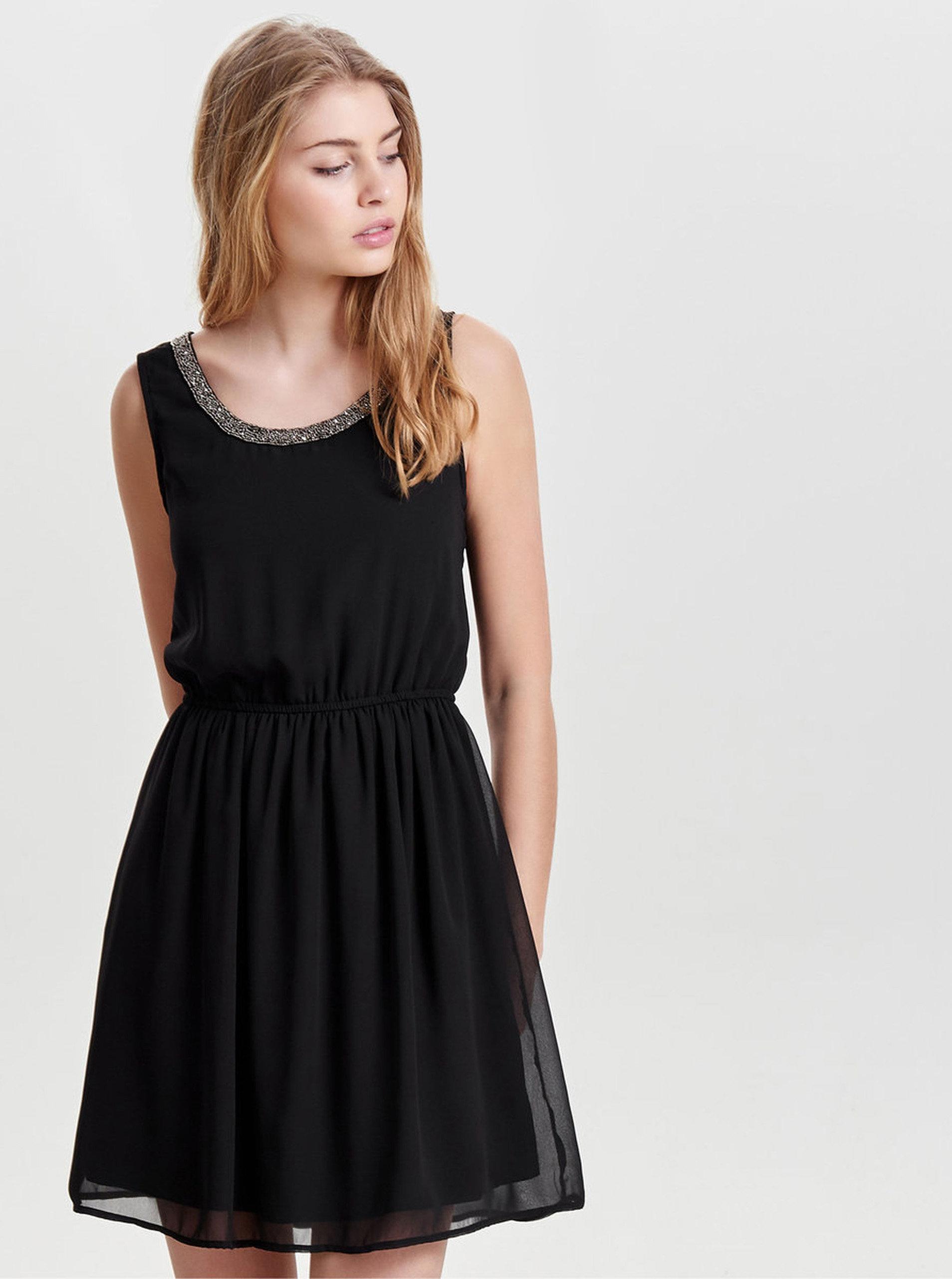 Černé šaty s elastickým pasem ONLY Thea ... 7d252e0710