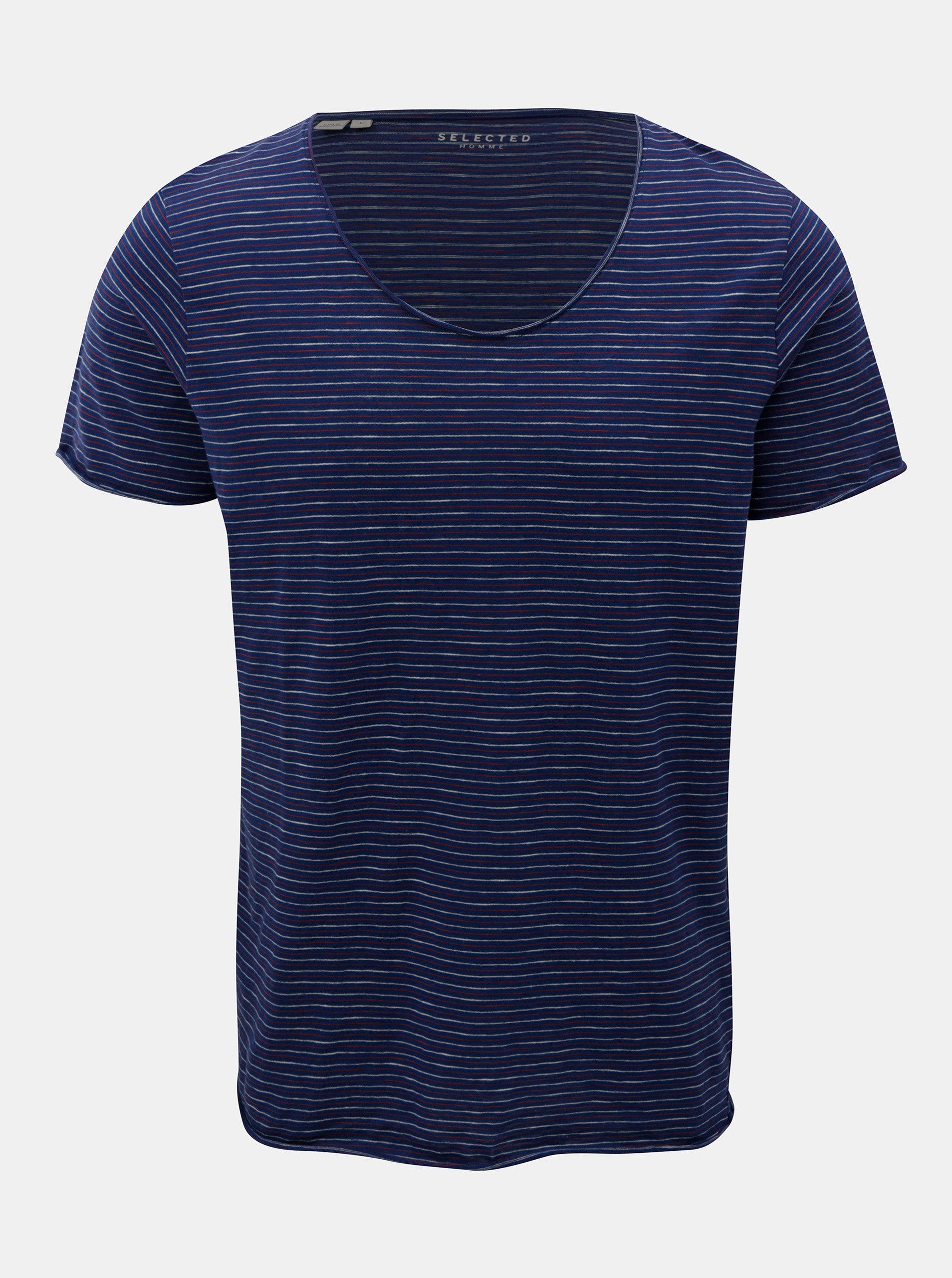 74636b347cea Tmavě modré pruhované basic tričko Selected Homme Merce ...
