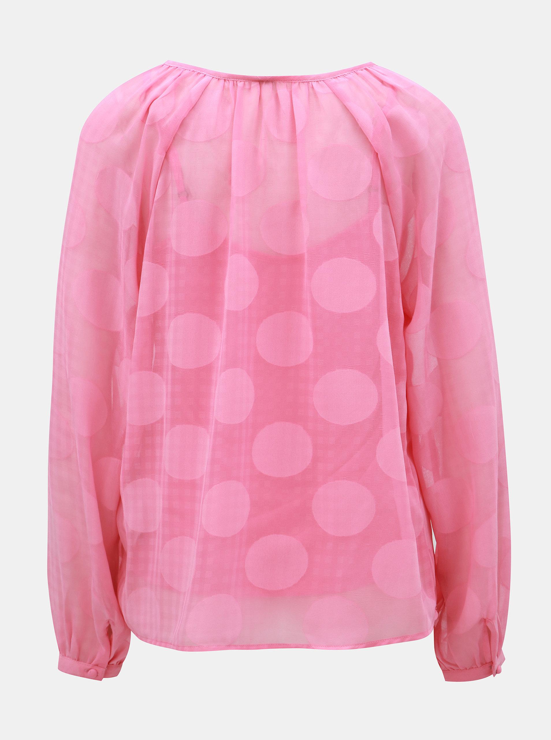 5556ef674c8b Ružová bodkovaná blúzka s dlhým rukávom VERO MODA Syra ...