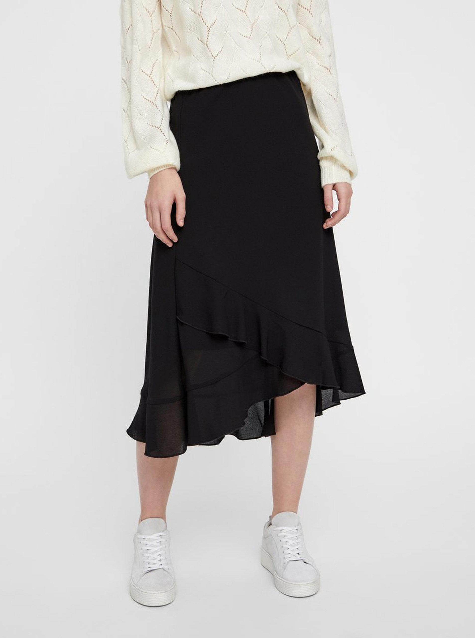 0f2c682bbfab Čierna sukňa s volánmi VERO MODA Valentina ...