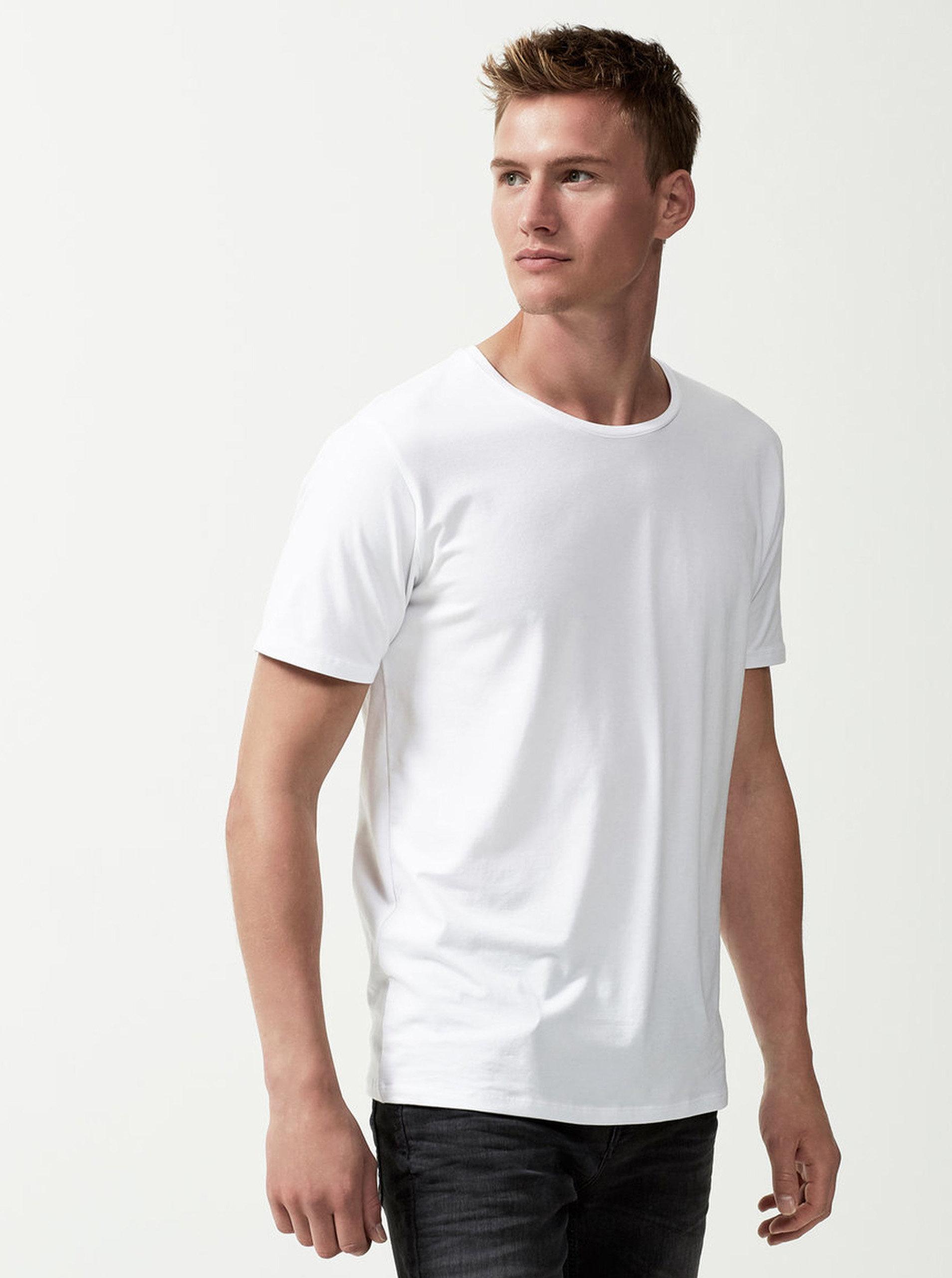 Bílé basic tričko Selected Homme Pima