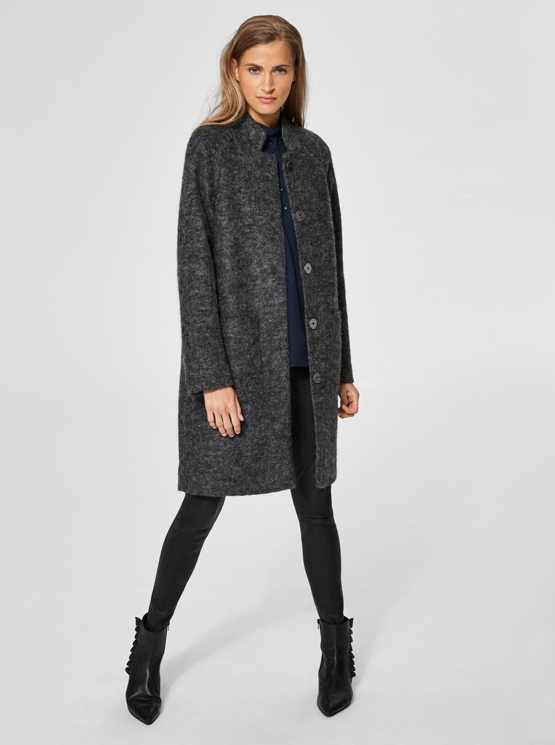 5b3f0b9a40 Sivý melírovaný kabát s prímesou vlny Selected Femme Nashwill ...