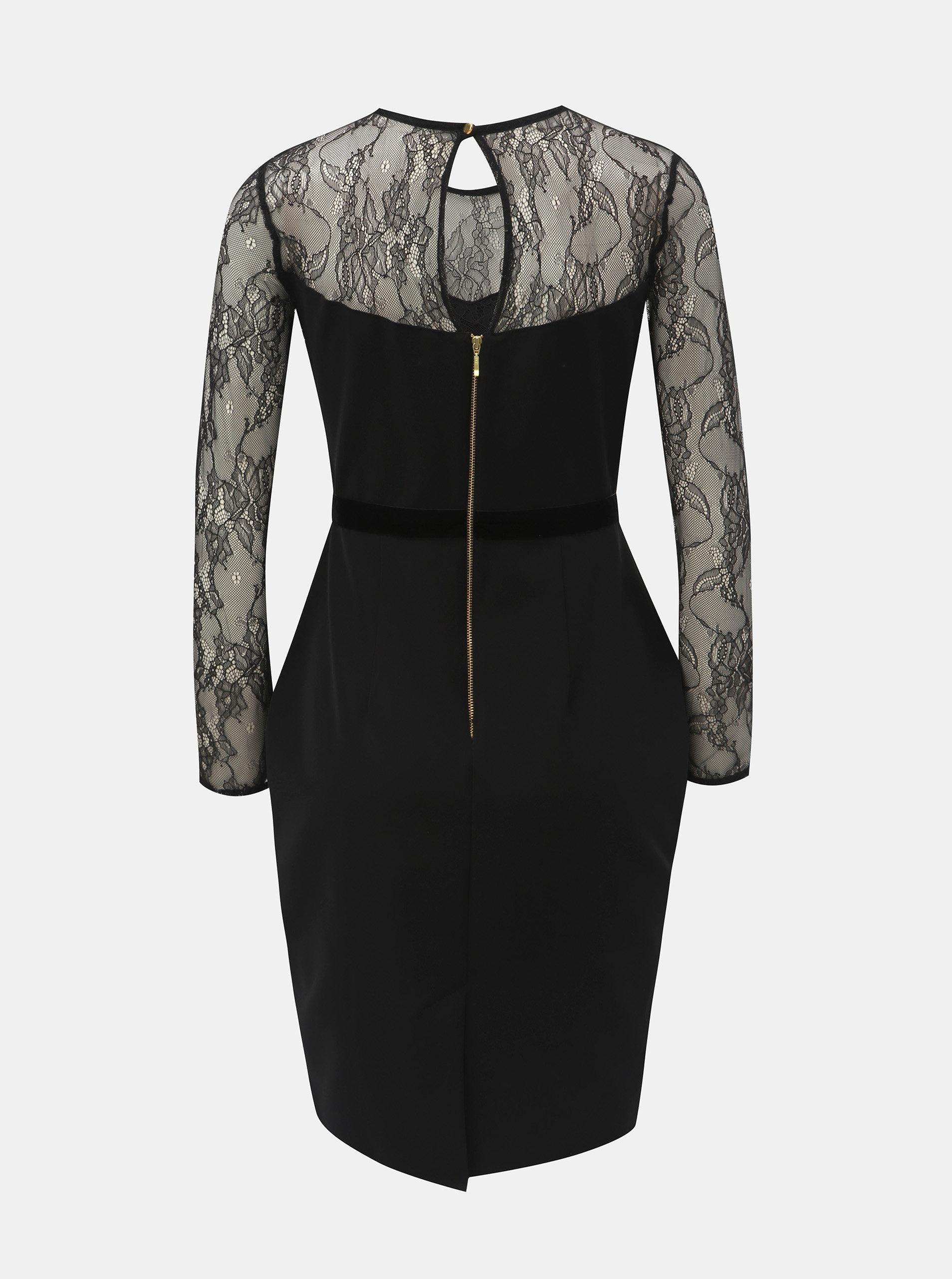 Černé pouzdrové šaty s krajkovým sedlem a rukávy Dorothy Perkins Petite ... 08b5dd3d1b