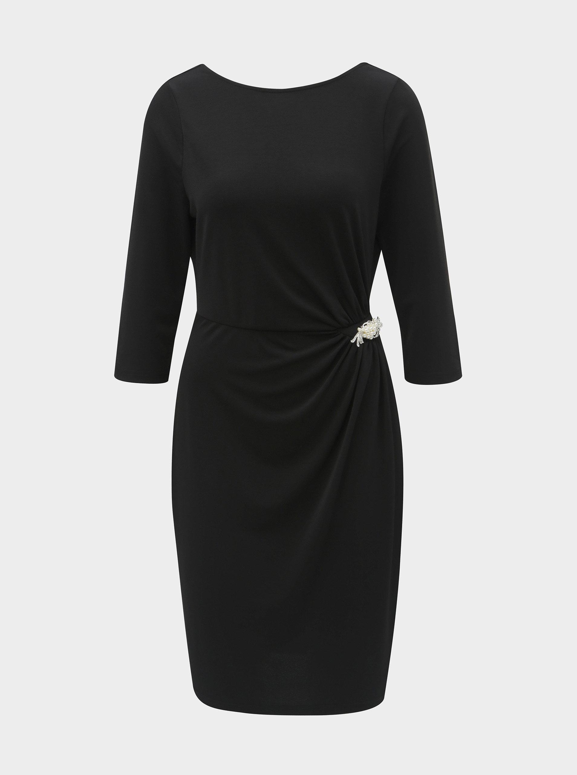 0e0e88cce81 Černé pouzdrové šaty s broží a řasením na boku Dorothy Perkins ...
