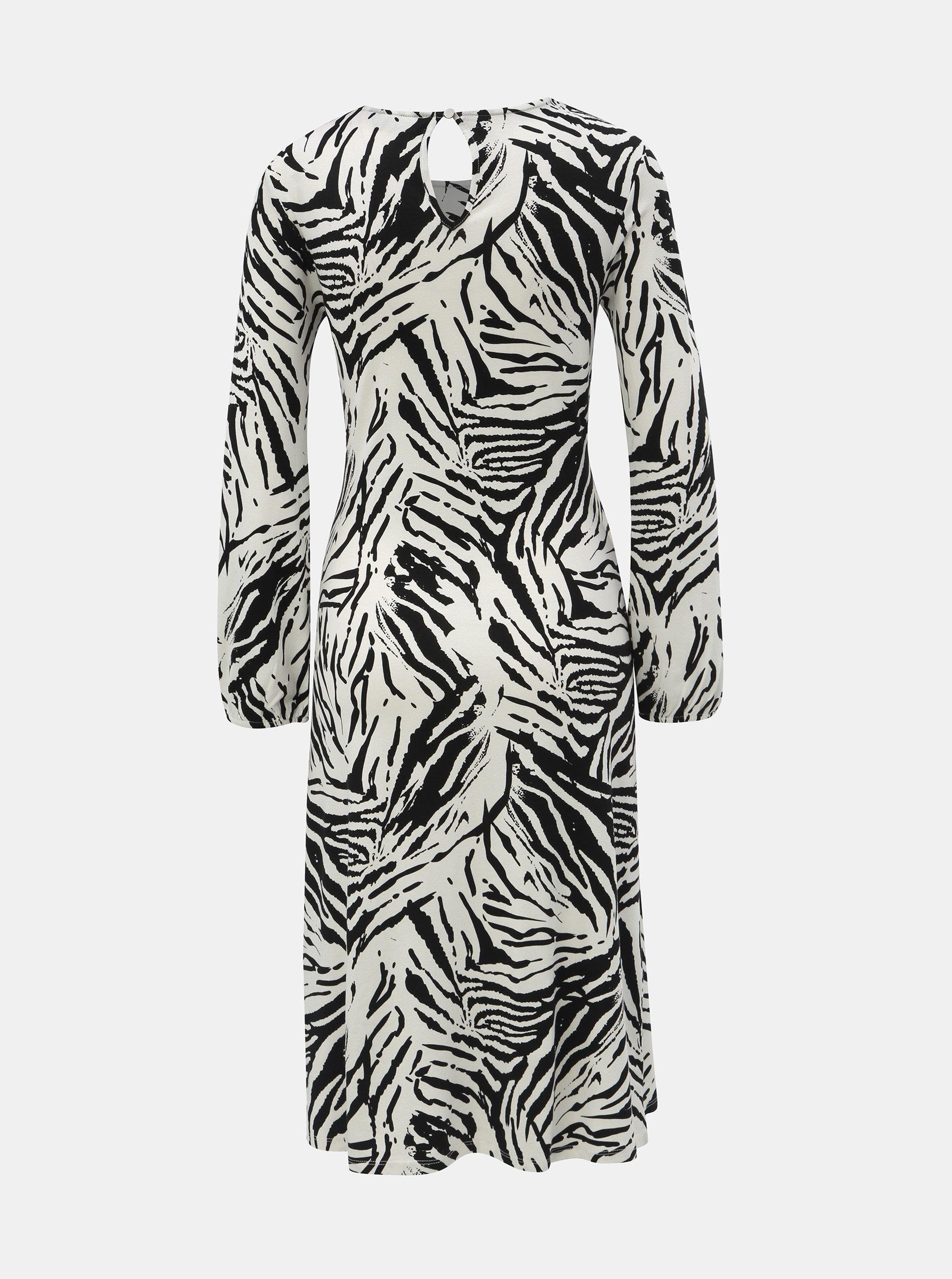 Čierno–biele vzorované šaty s riasením na bruchu Dorothy Perkins ... e8a34ec2832