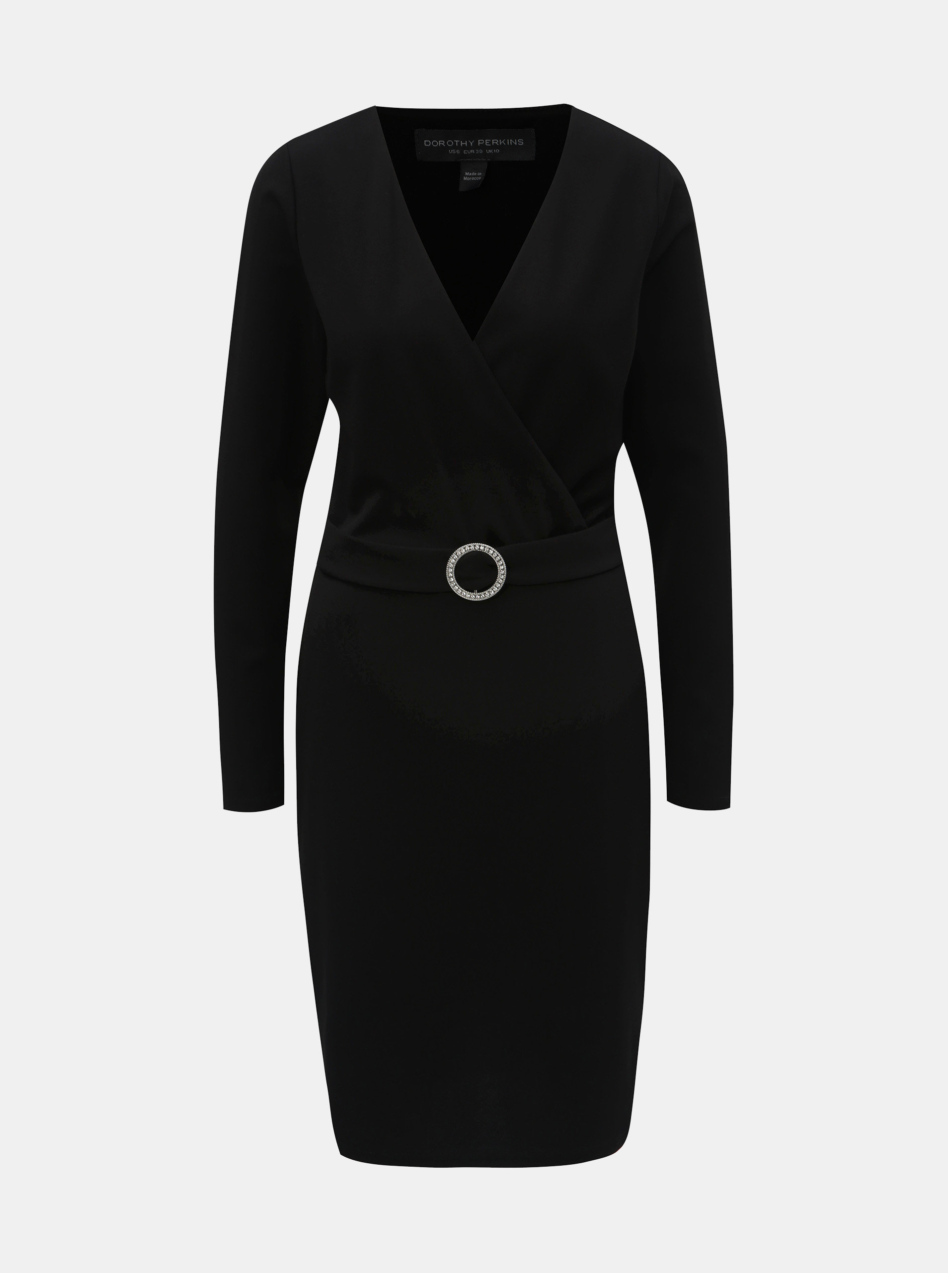 9ea2f310bd04 Čierne puzdrové šaty s prekladaným výstrihom a opaskom Dorothy Perkins Tall  ...