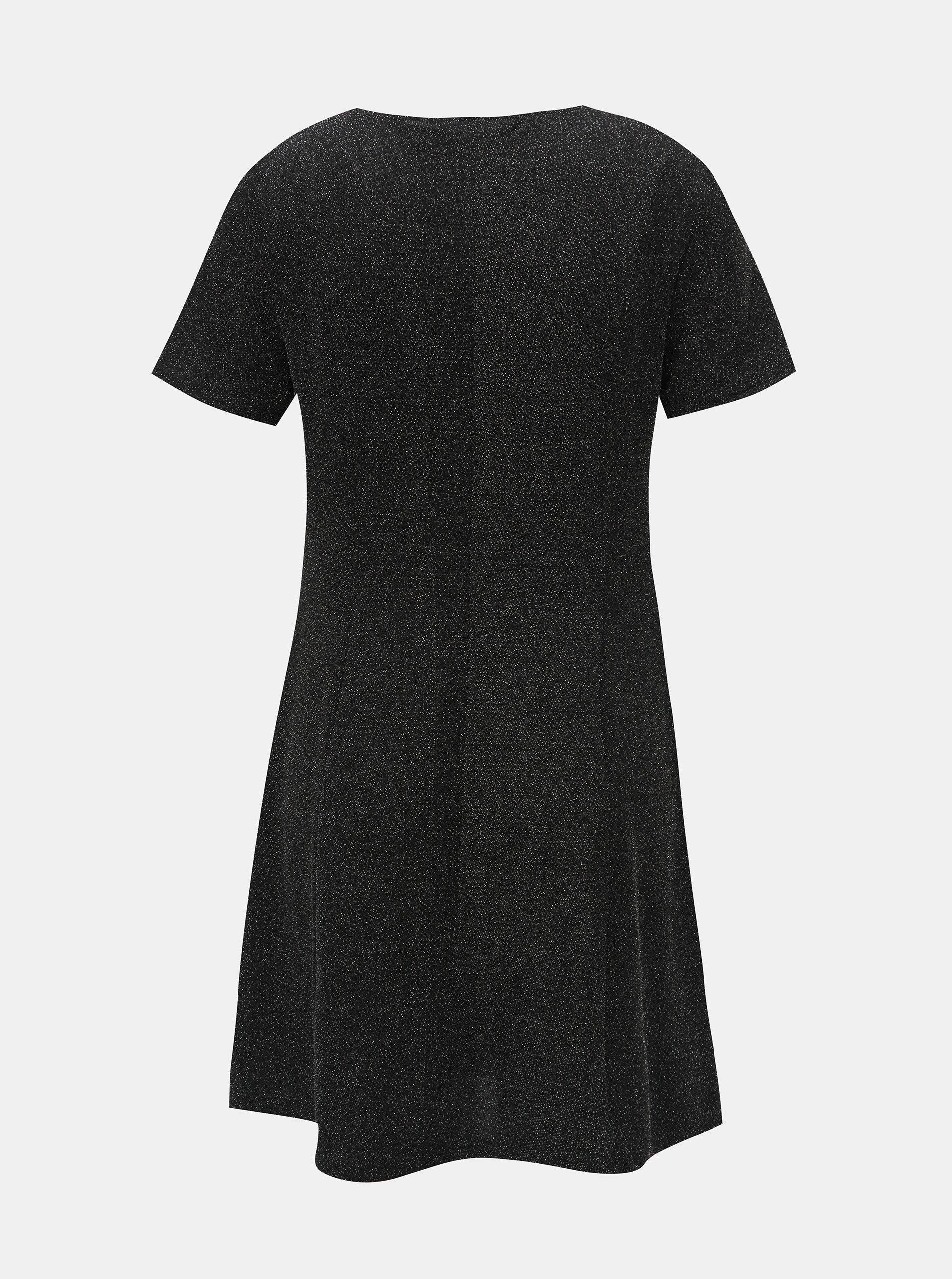 178c6caf3aec Čierne šaty s trblietavým efektom Dorothy Perkins ...