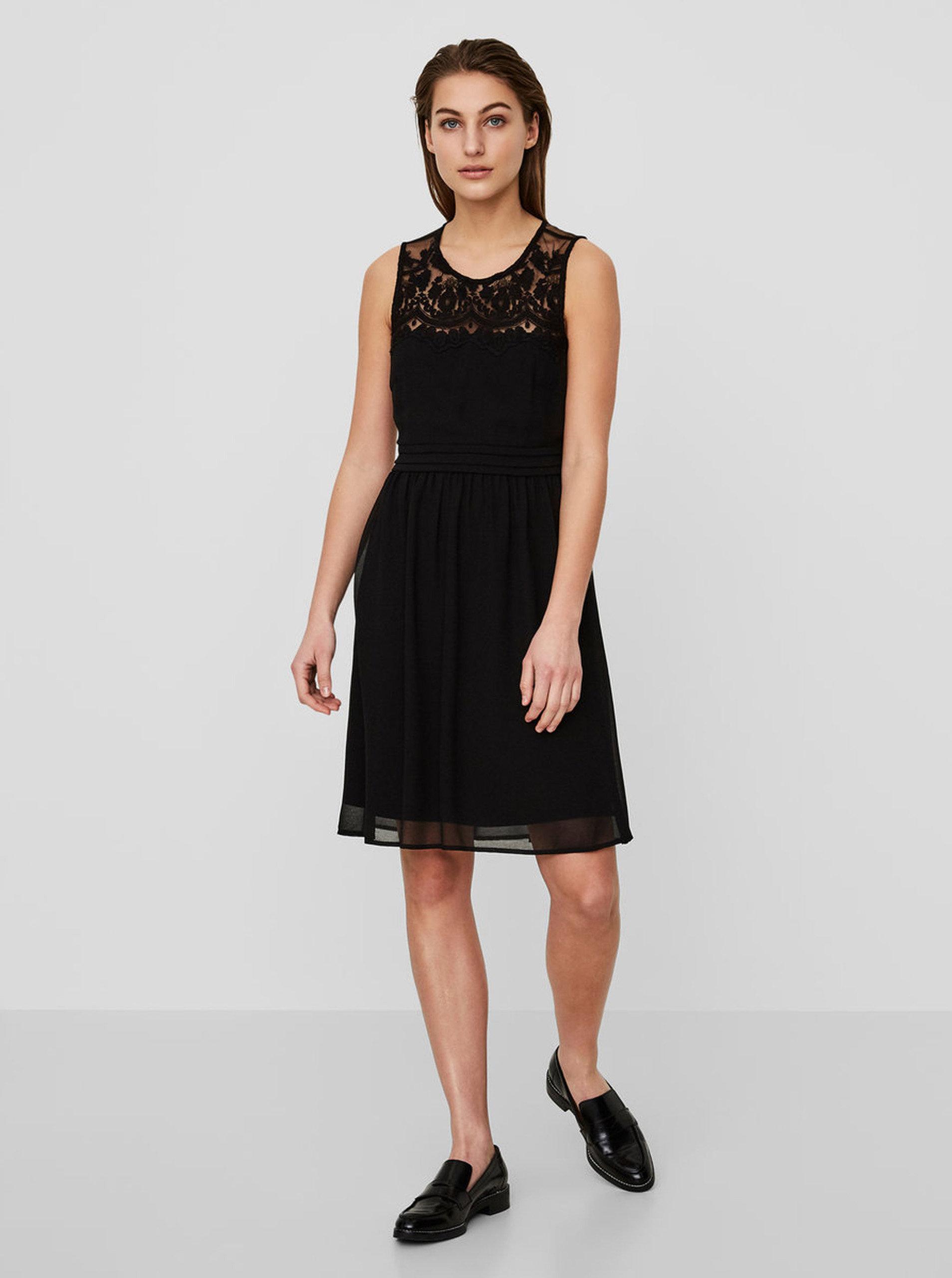 635a9b1e446 Černé šaty s krajkou VERO MODA Vanessa ...