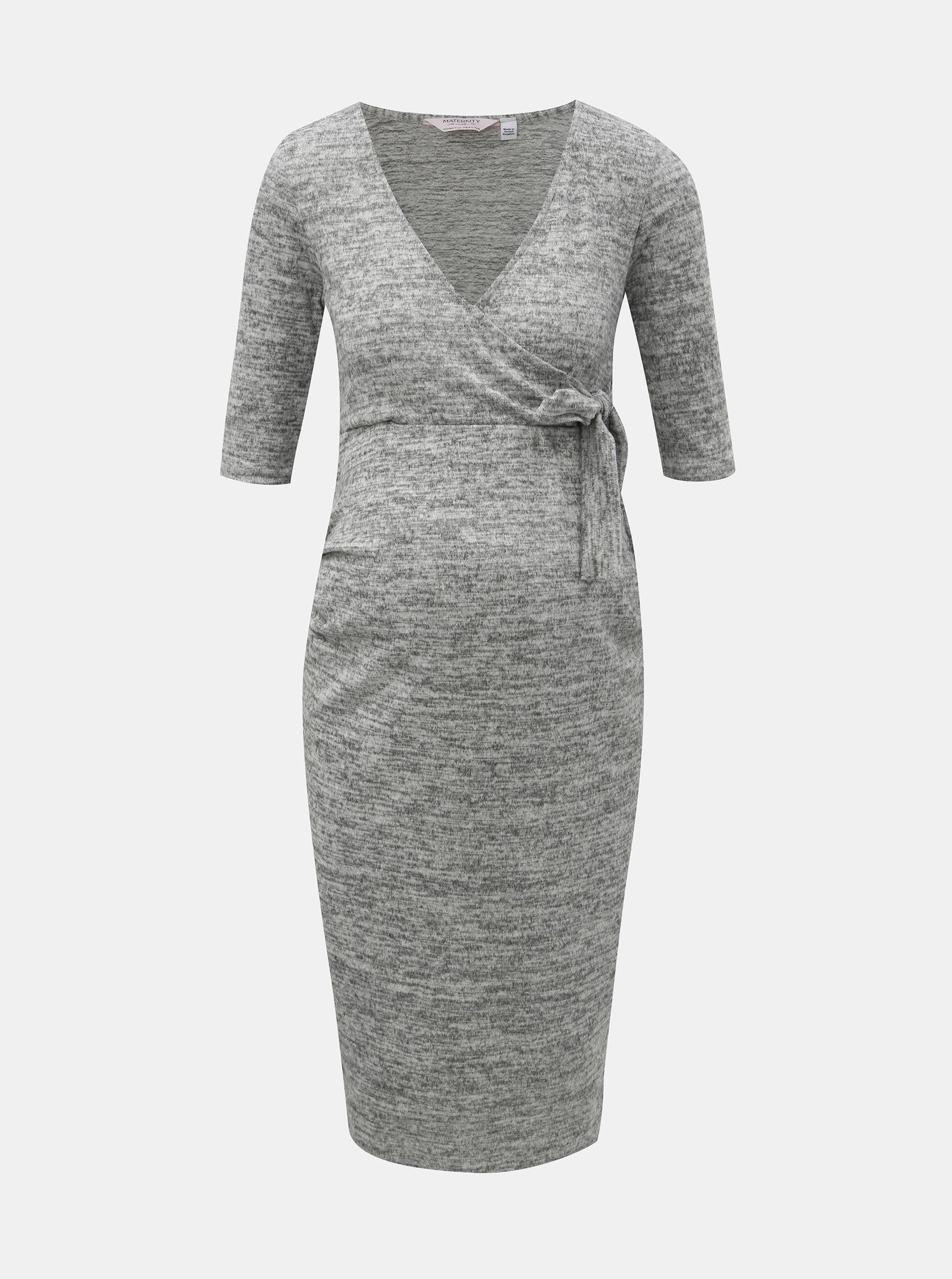 6843e0a22f0 Šedé žíhané těhotenské šaty Dorothy Perkins Maternity ...