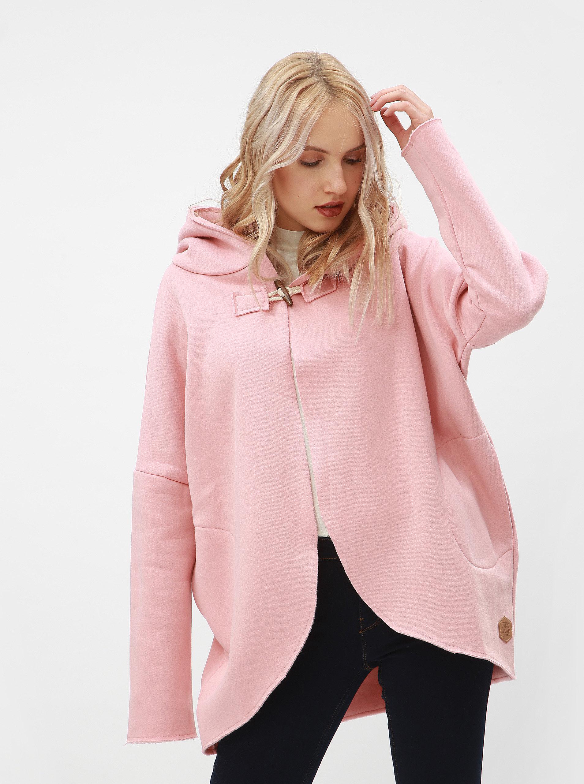 Růžová oversize mikina s kapucí Femi Stories ... c83df989f4e