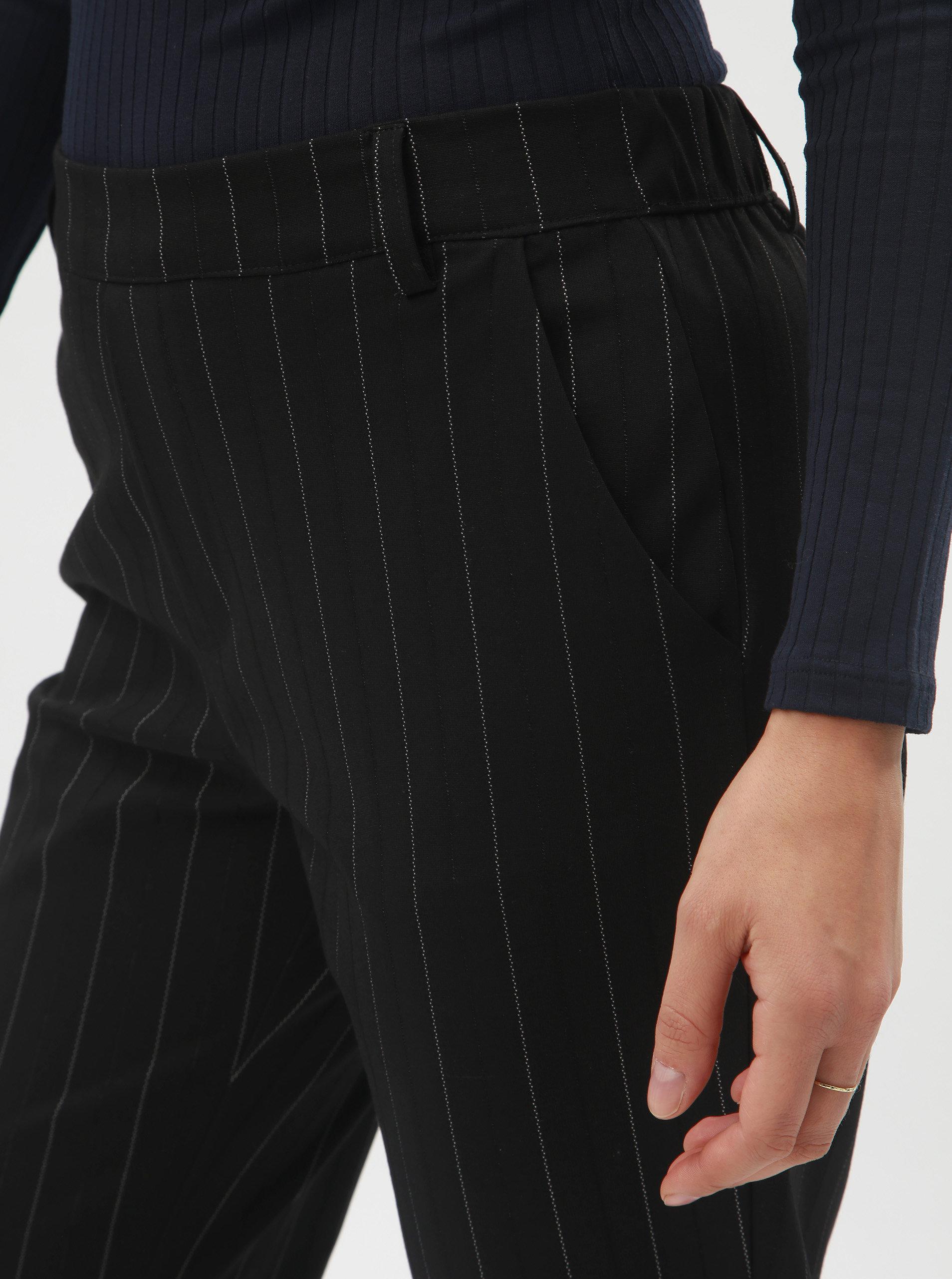 Černé pruhované kalhoty s gumou v pase Jacqueline de Yong Lilo ... 63117f5af9