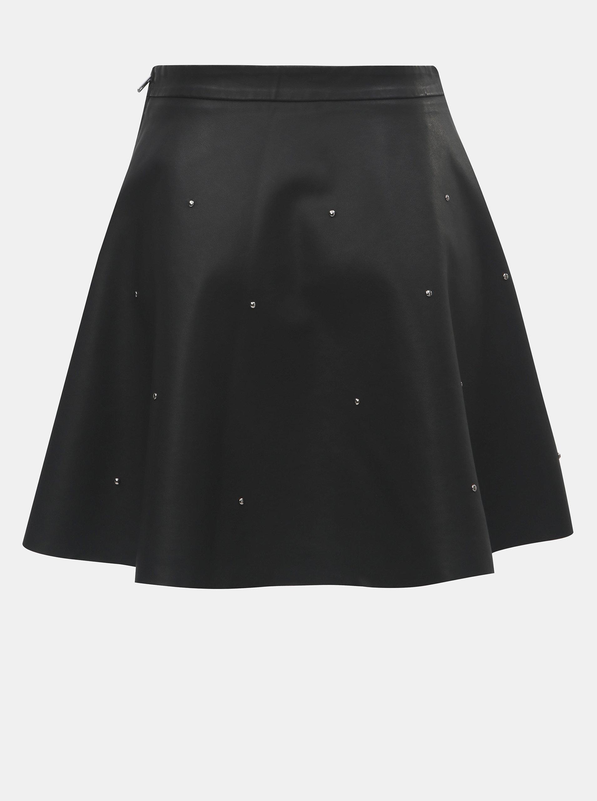 fbaa6be6c7a4 Čierna koženková sukňa s kovovou aplikáciou ONLY Fia ...