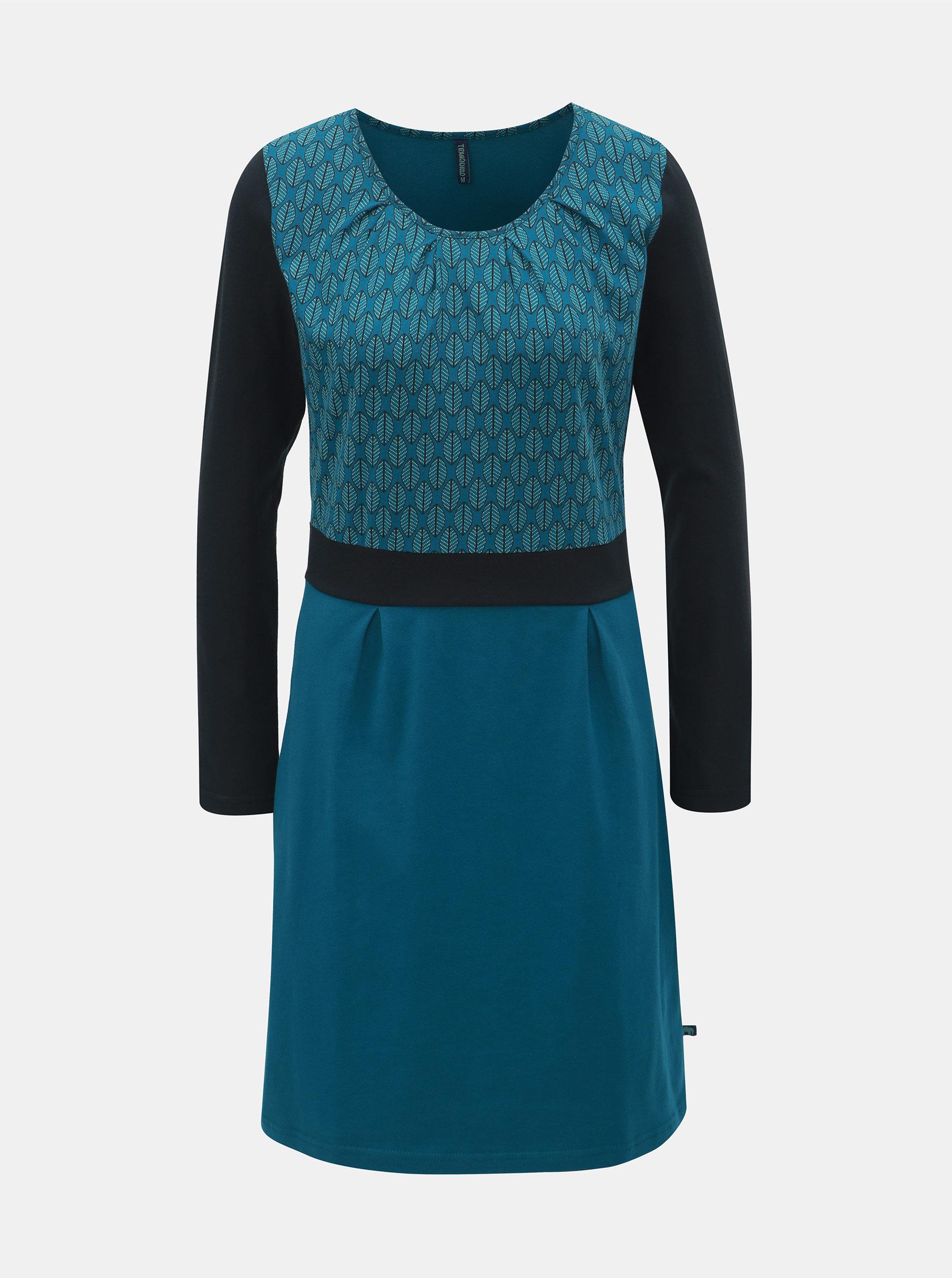 595089aeebdf Tyrkysové vzorované šaty s dlhým rukávom Tranquillo Beda ...