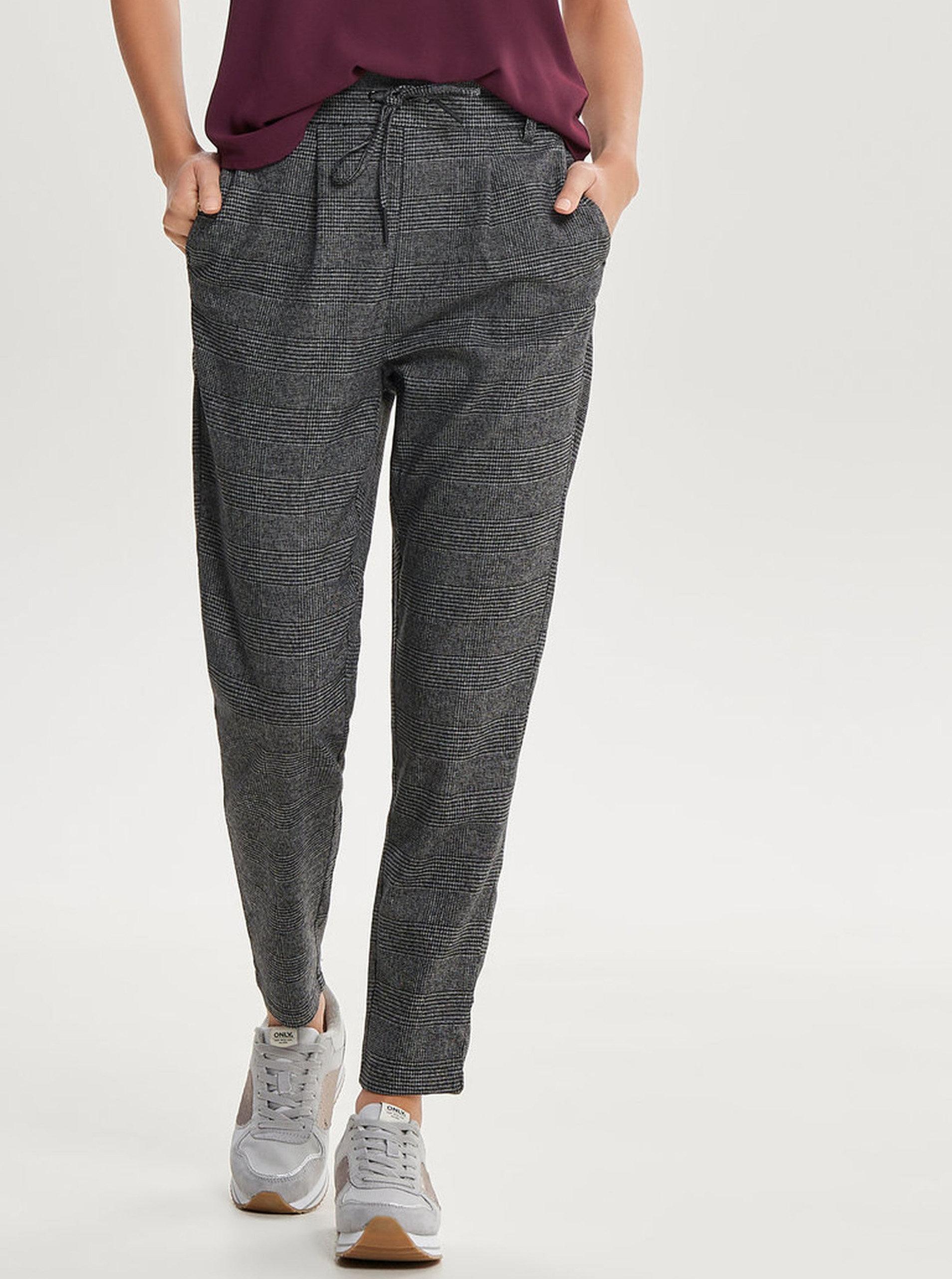 Šedo-černé vzorované kalhoty s elastickým pasem ONLY Poptrash ... c0b783c04e