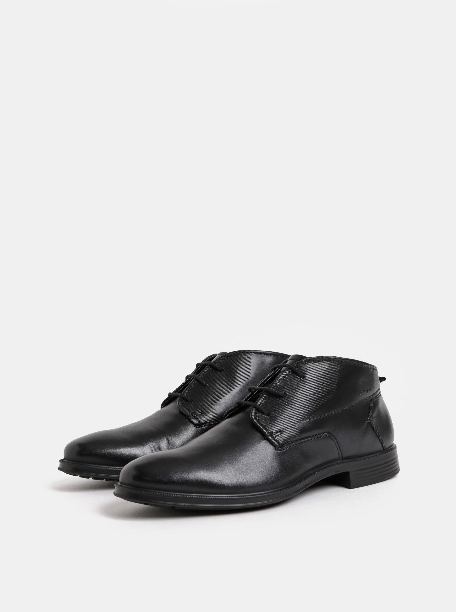 11273118d36 Černé pánské kožené kotníkové boty bugatti Leolo ...